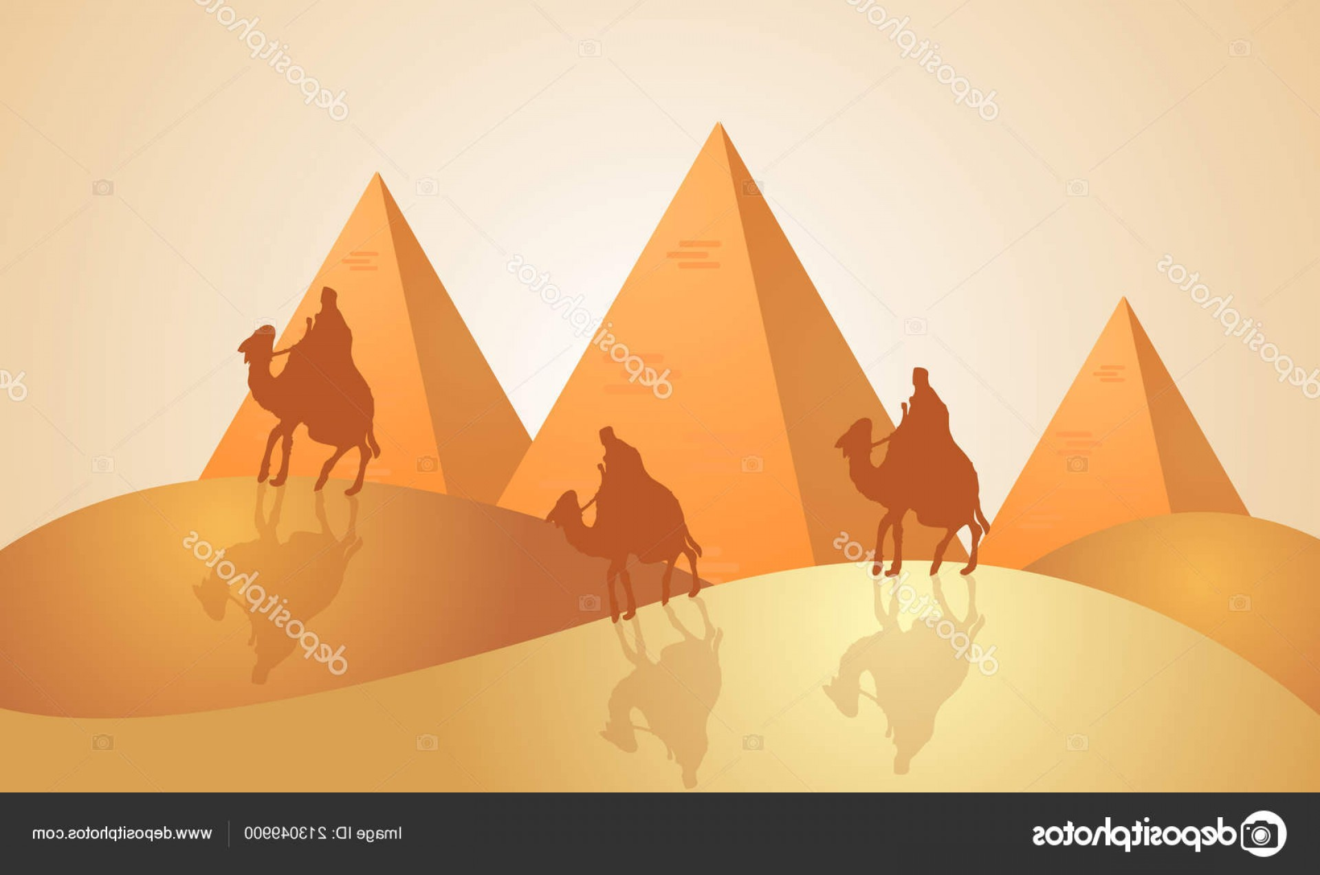 Piramids Vector Art: Stock Illustration Landscape Pyramids Egypt Vector Art