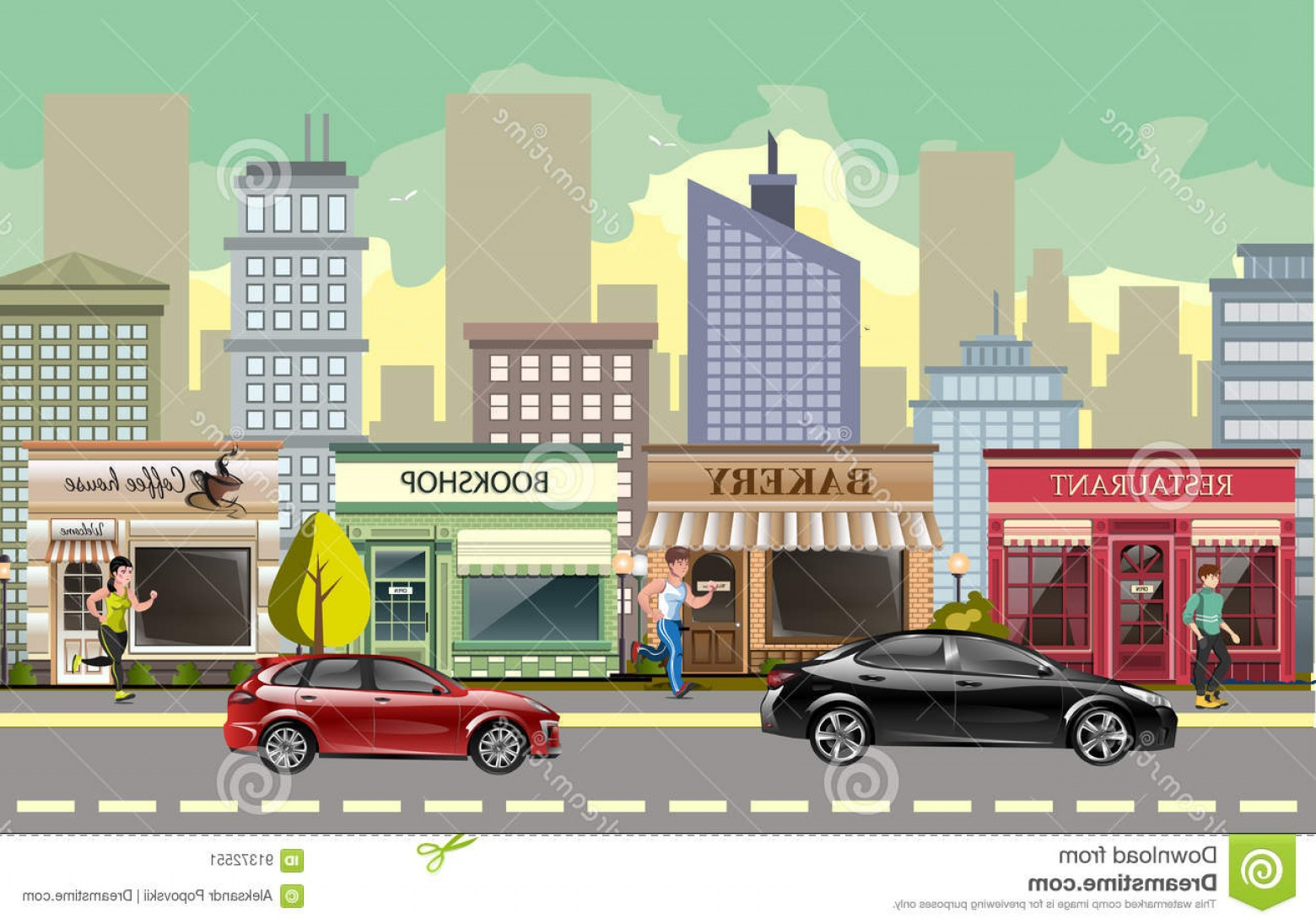 Vector Images Of Cars On Streets: Stock Illustration Landscape Street Cars Flat Vector Cartoon Style Illustration Image