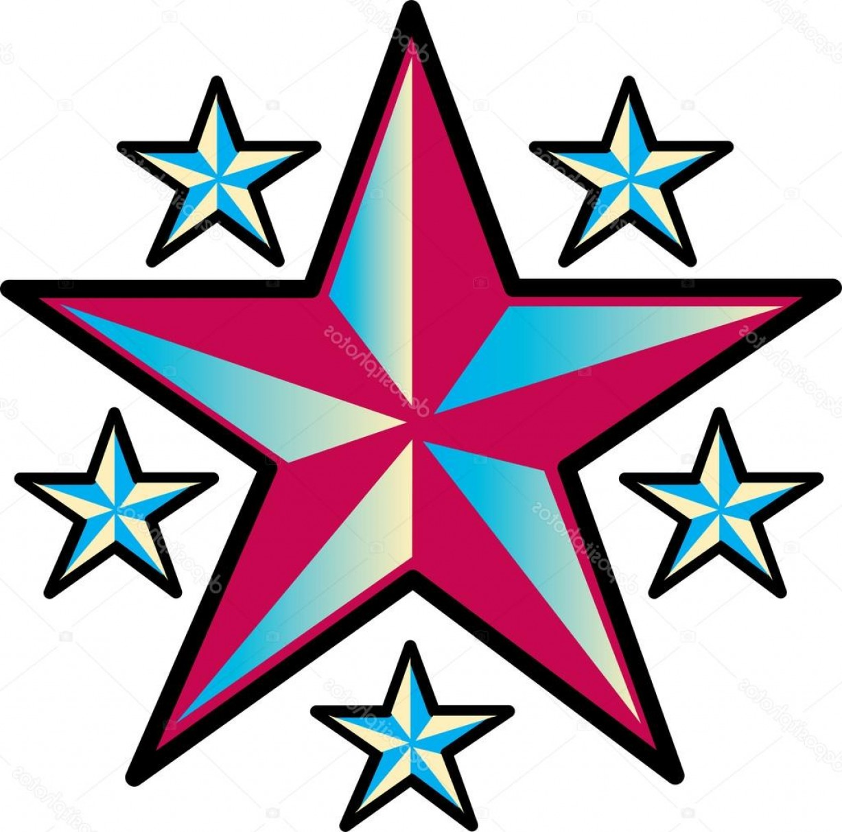 Nautical Star Vector Logo: Stock Illustration Large Nautical Star With Smaller