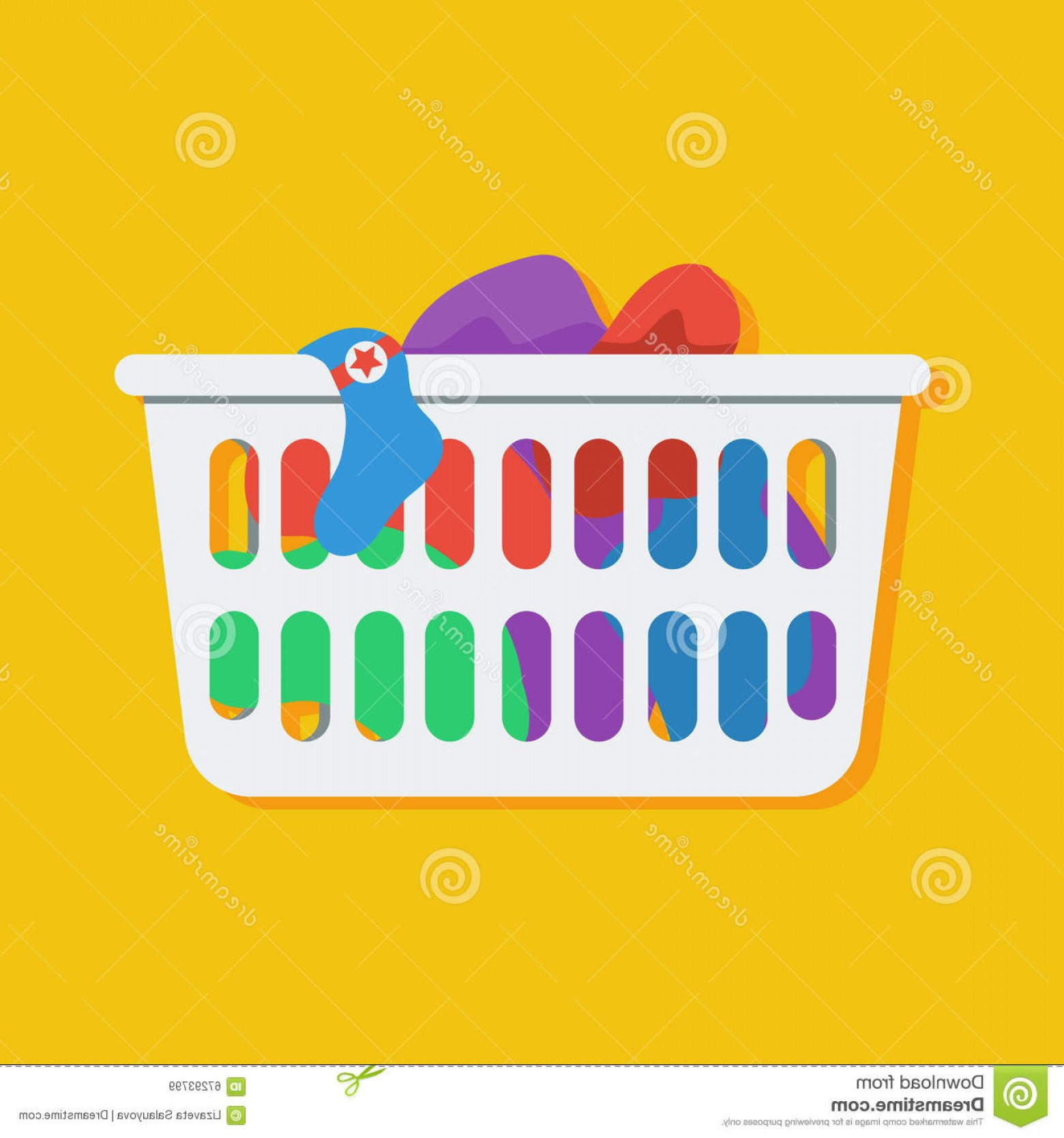 Clothes For Washing Vector: Stock Illustration Laundry Basket Vector Icon Illustration Flat Style Loundry Dirty Clothes Image