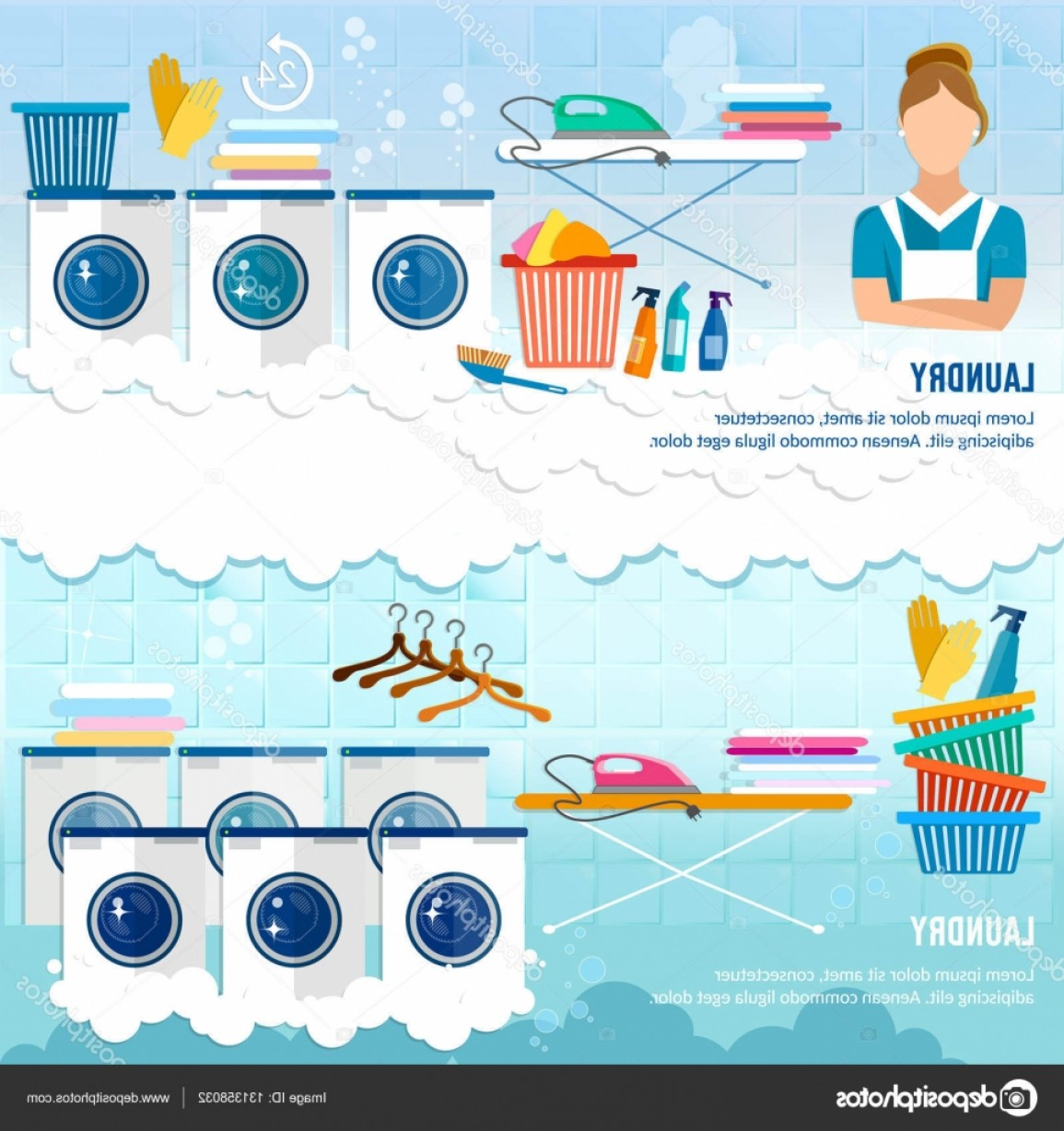 Clothes For Washing Vector: Stock Illustration Laundry Service Banner Dry Cleaning