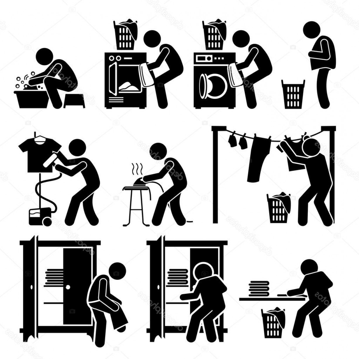 Clothes For Washing Vector: Stock Illustration Laundry Works Washing Clothes Pictogram
