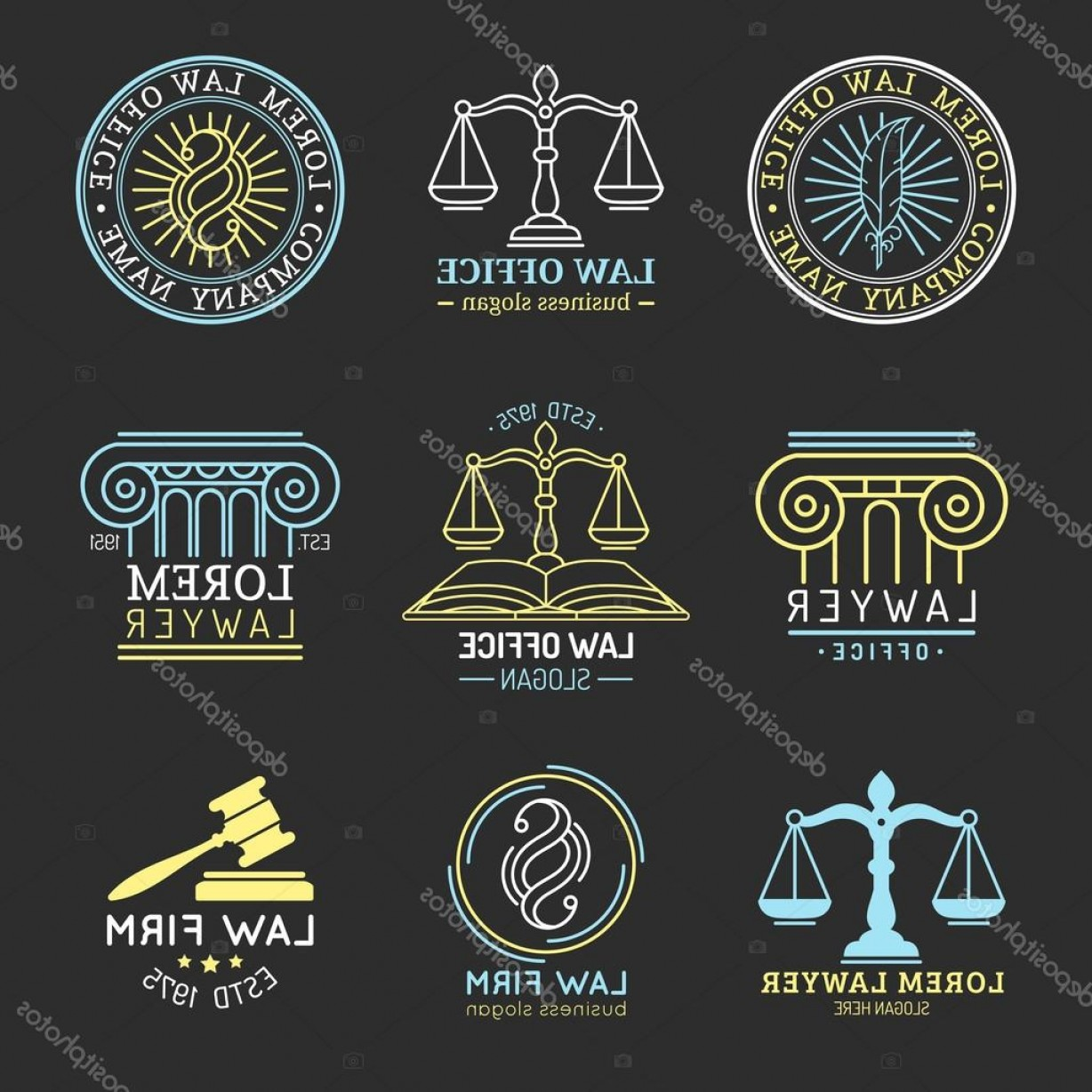 Vintage Sign Vector Attorney-Law: Stock Illustration Law Logos Attorney Signs