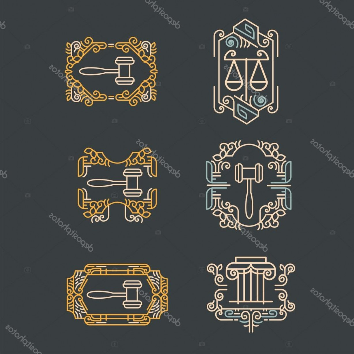 Vintage Sign Vector Attorney-Law: Stock Illustration Law Office Logo Set Vector