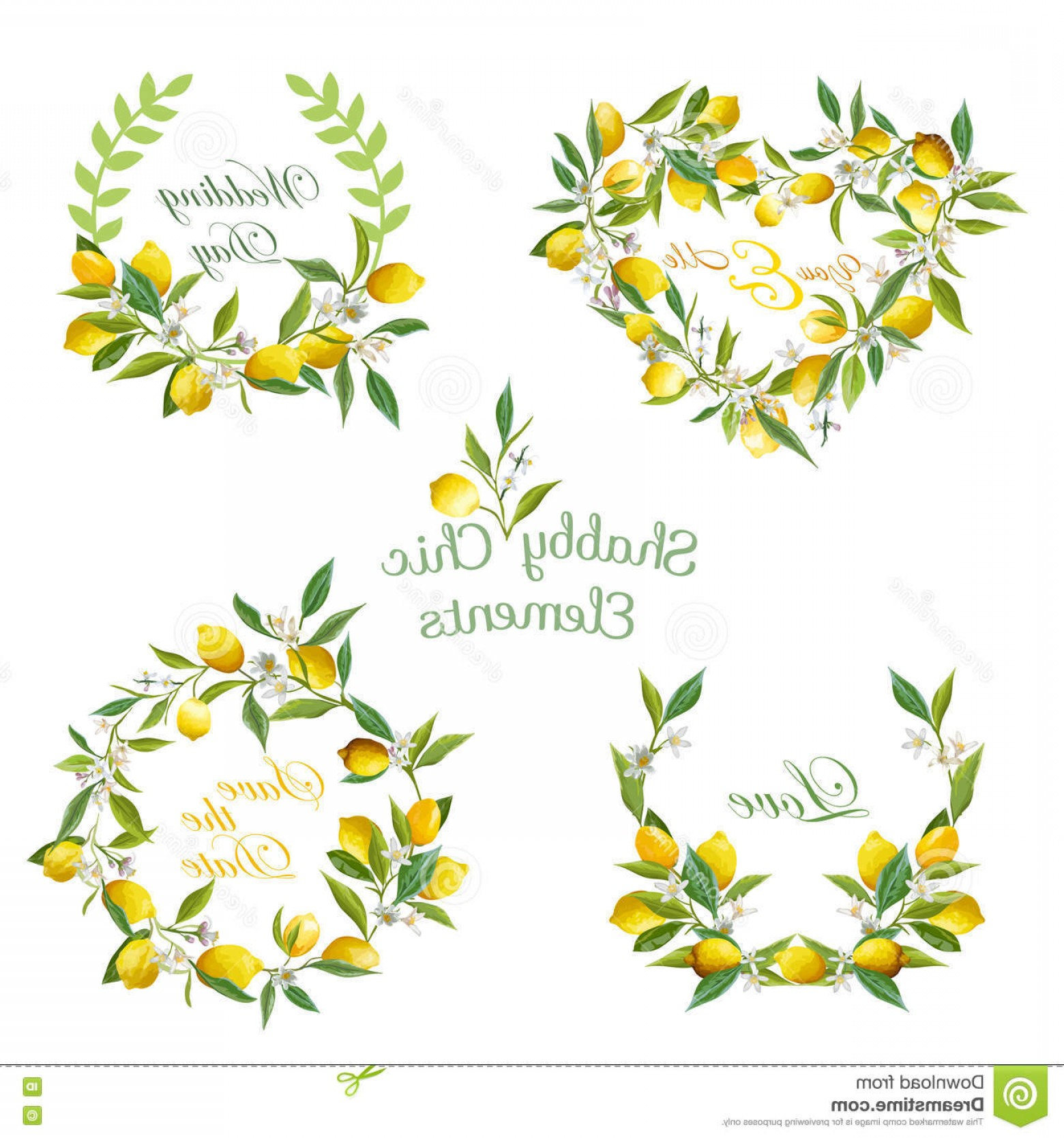 Half Leaf Wreath Vector: Stock Illustration Lemons Flowers Leaves Banners Tags Floral Wreath Vector Set Image