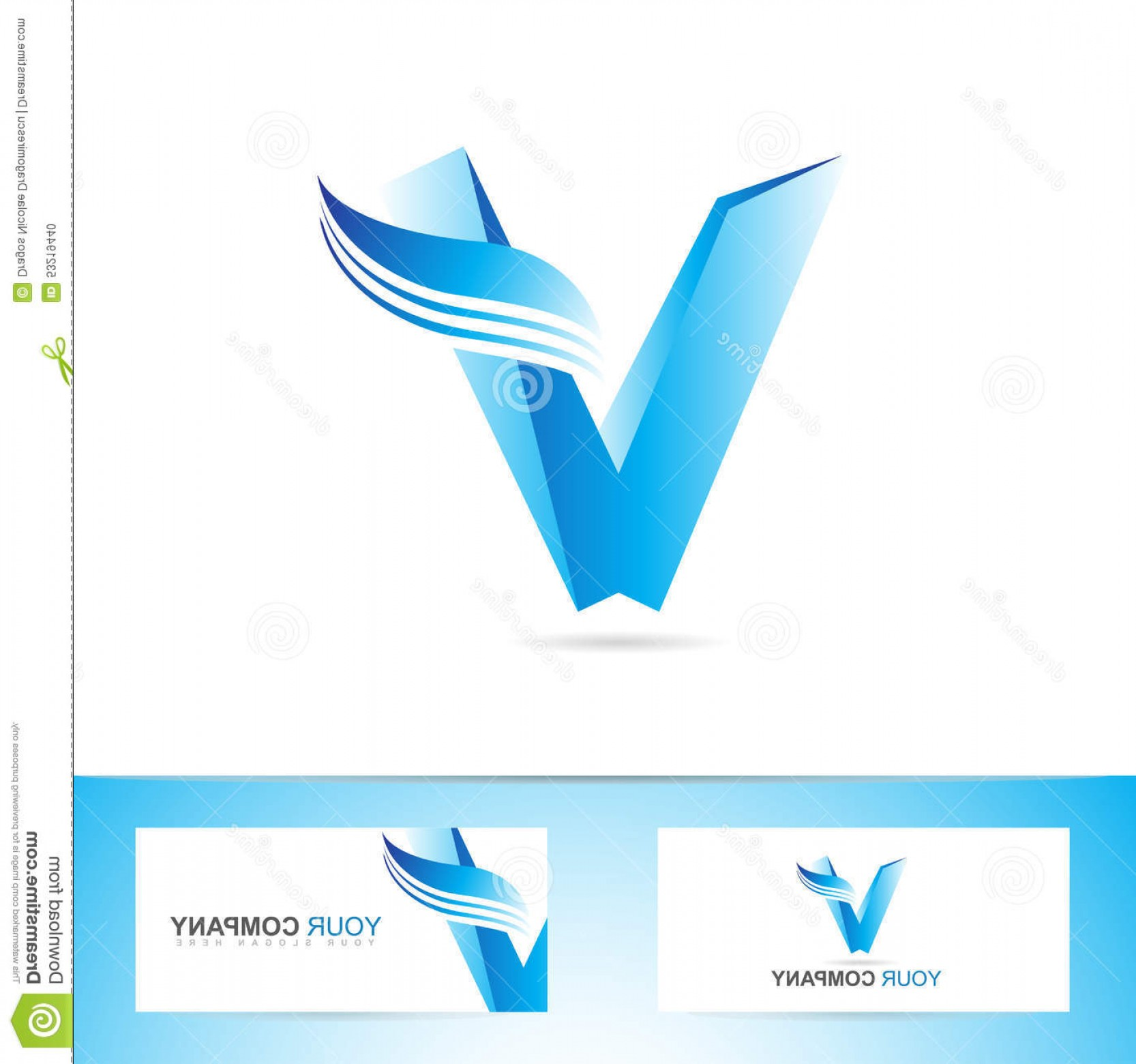 V Logo Vector: Stock Illustration Letter V Logo Icon Symbol Vector Template Blue D Alphabet Image