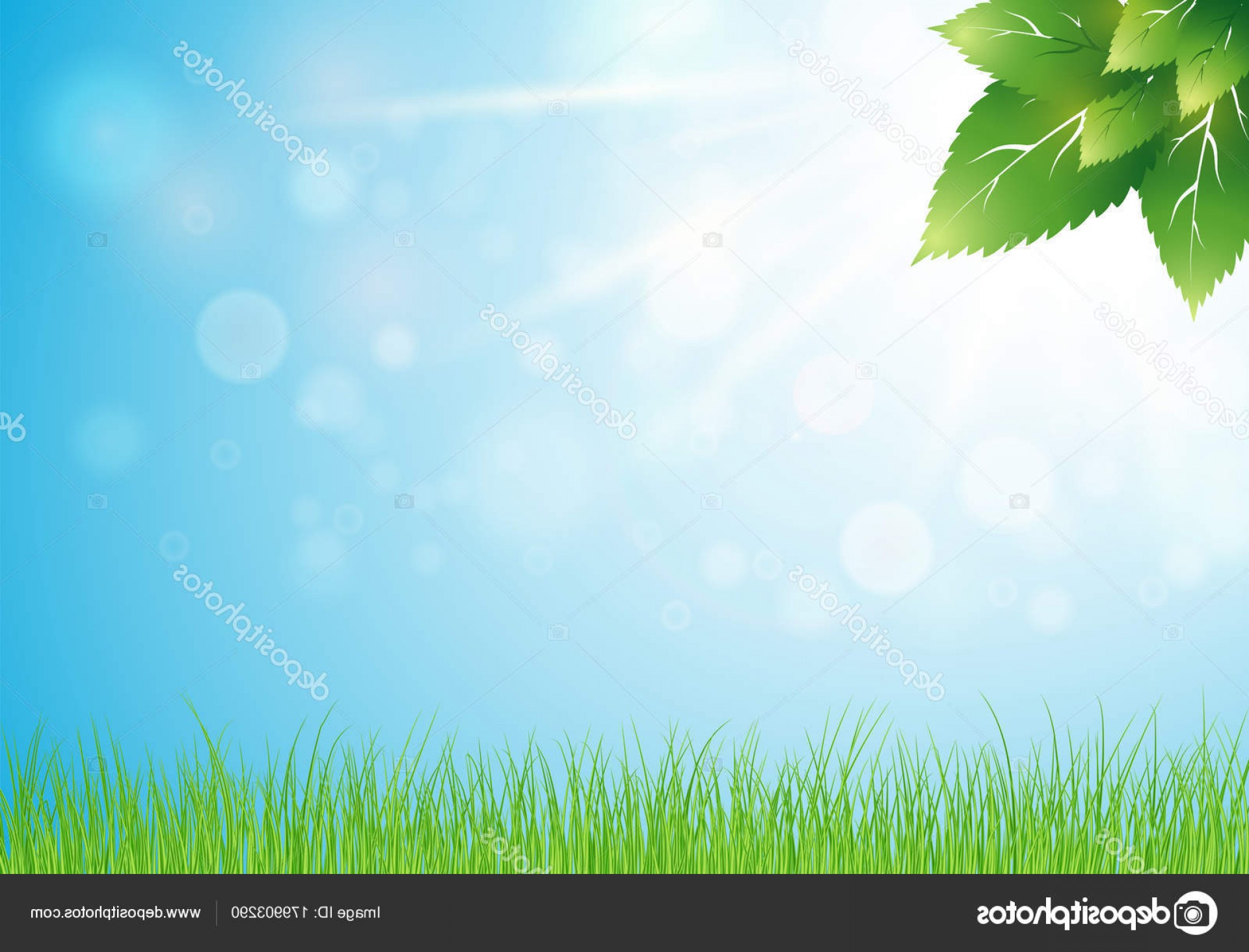 Vector Natural Background Sky: Stock Illustration Light Spring Background With Bokeh