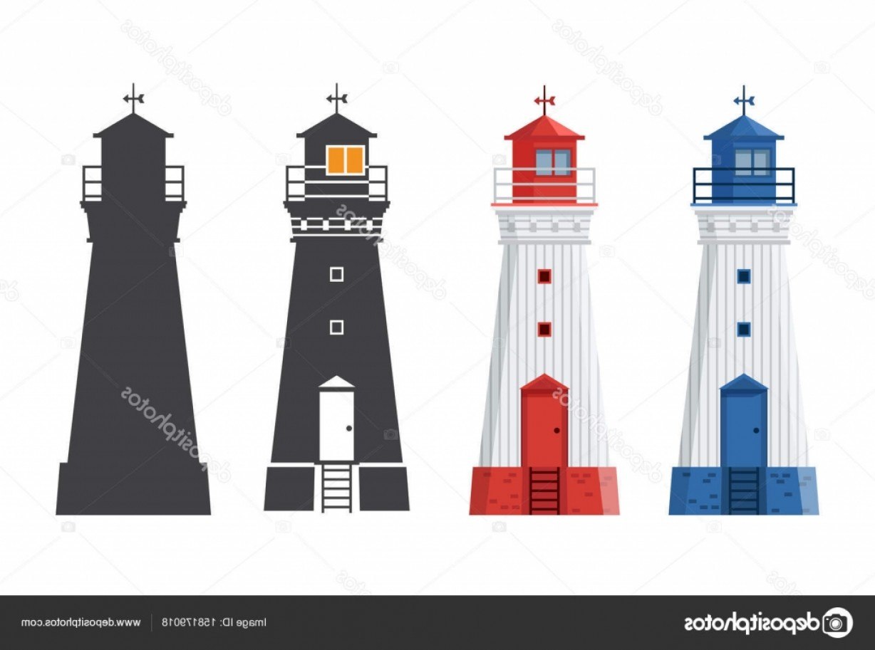Lighthouse Beacon Silhouette Vector: Stock Illustration Lighthouse Icon In Flat And