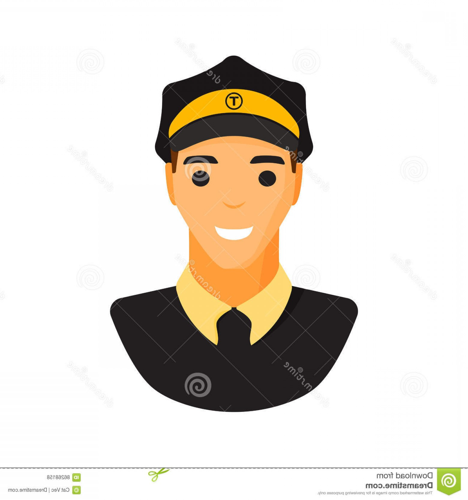Chauffer Driver Cap Vector: Stock Illustration Limo Chauffeur Taxi Driver Character Vector Limousine Icon Flat Style Illustration Car Drive Male Service Image
