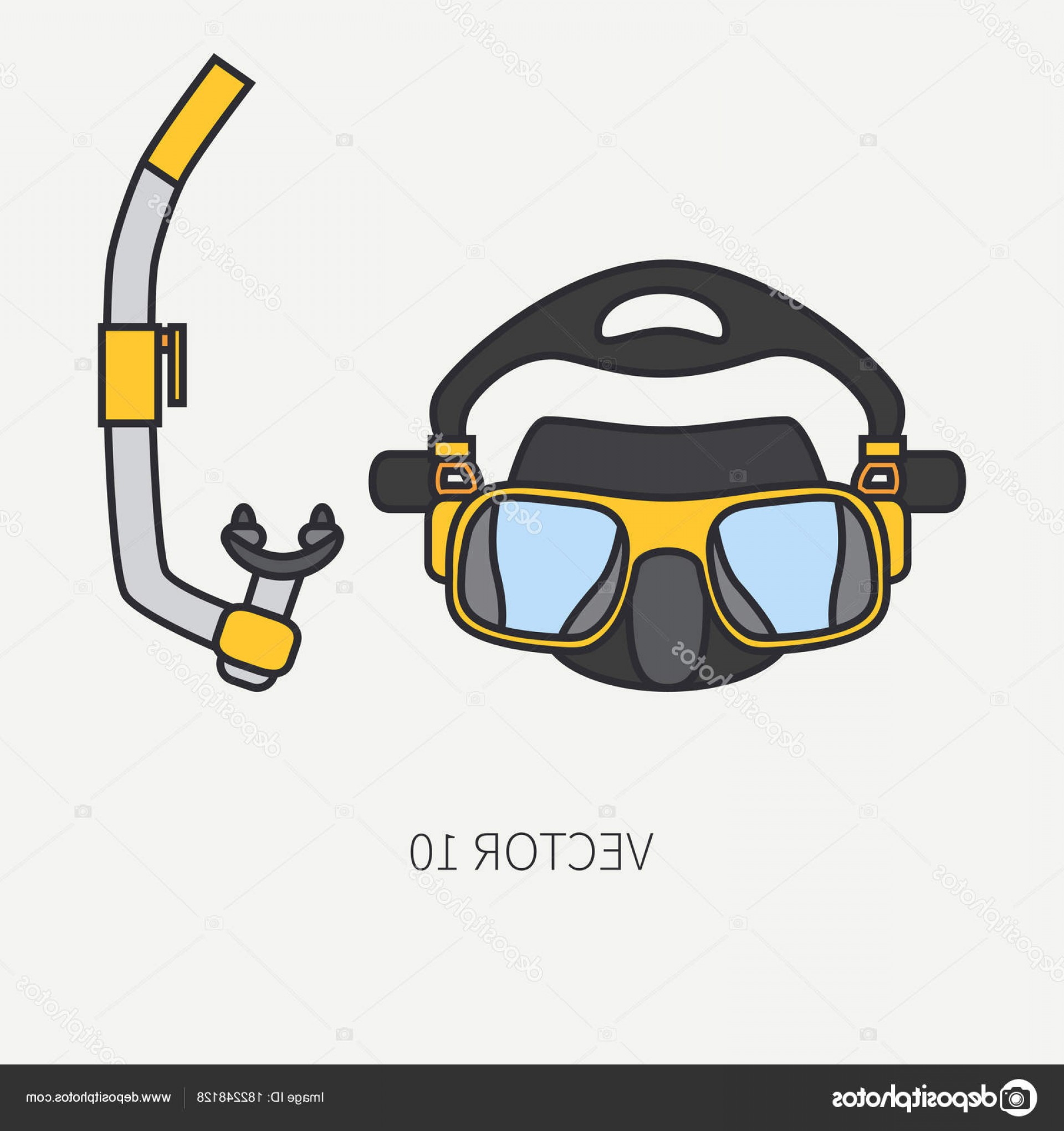 Dive Mask E Vectors: Stock Illustration Line Flat Color Vector Diver