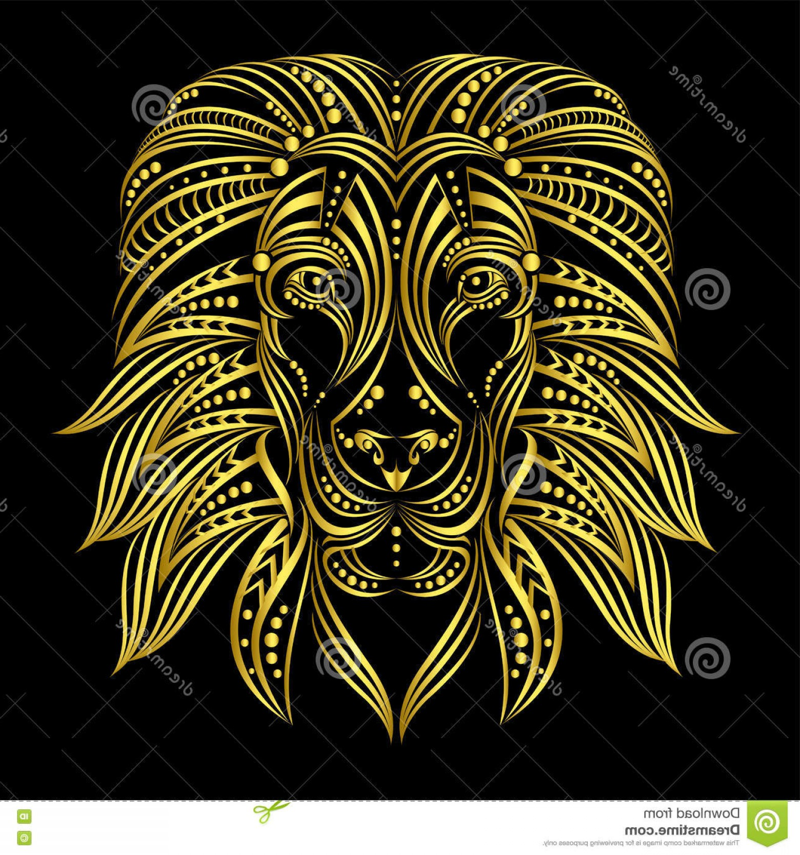 Blue Tigers Lincoln Logo Vector Image: Stock Illustration Lion Painted Ethnic Style Indian African Style Sketch Tattoo Print T Shirt Cover Poster Postcard Clothing Image