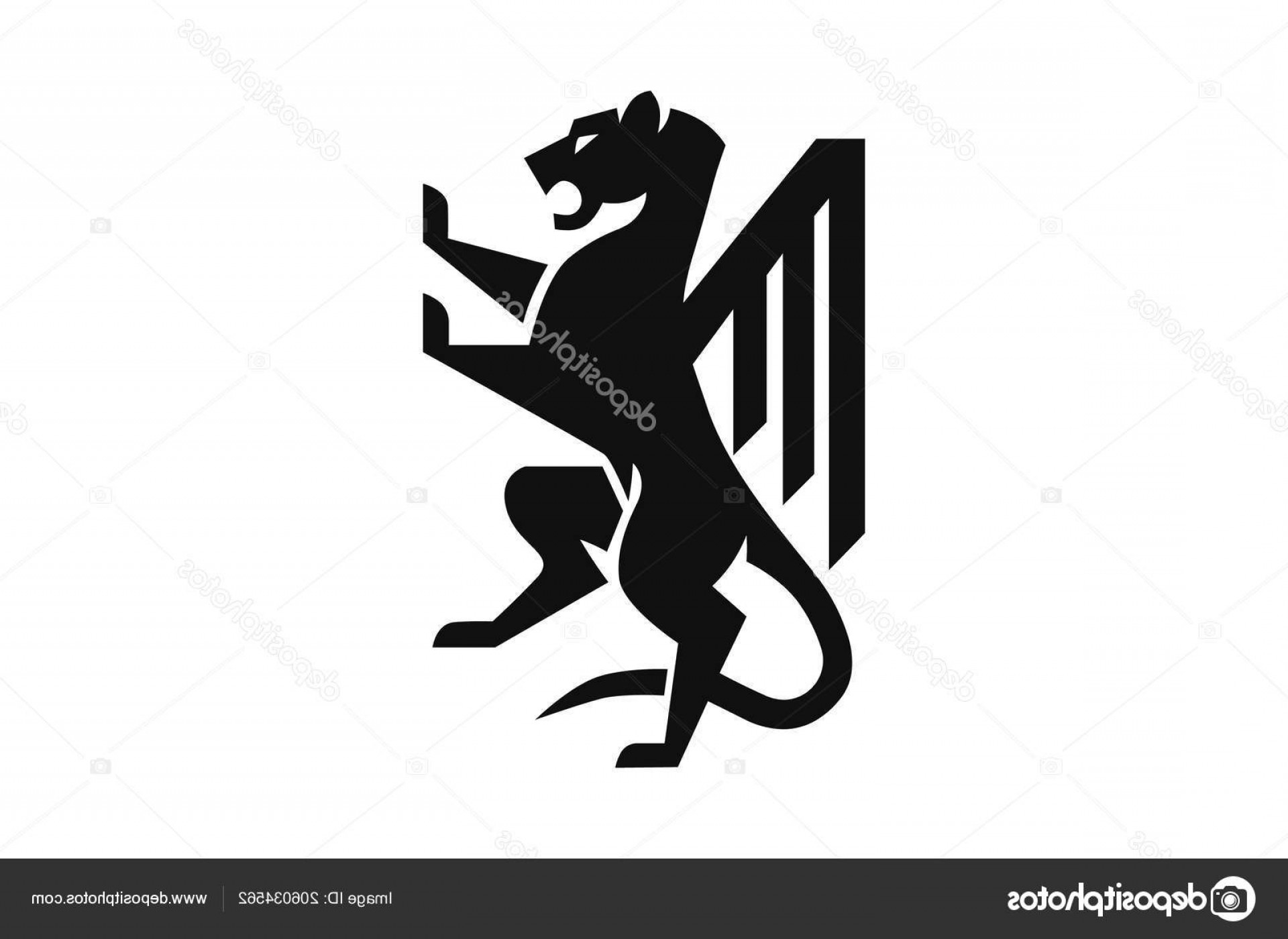 Standing Lions Crest Vector: Stock Illustration Lion Rampant Standing Coat Arms
