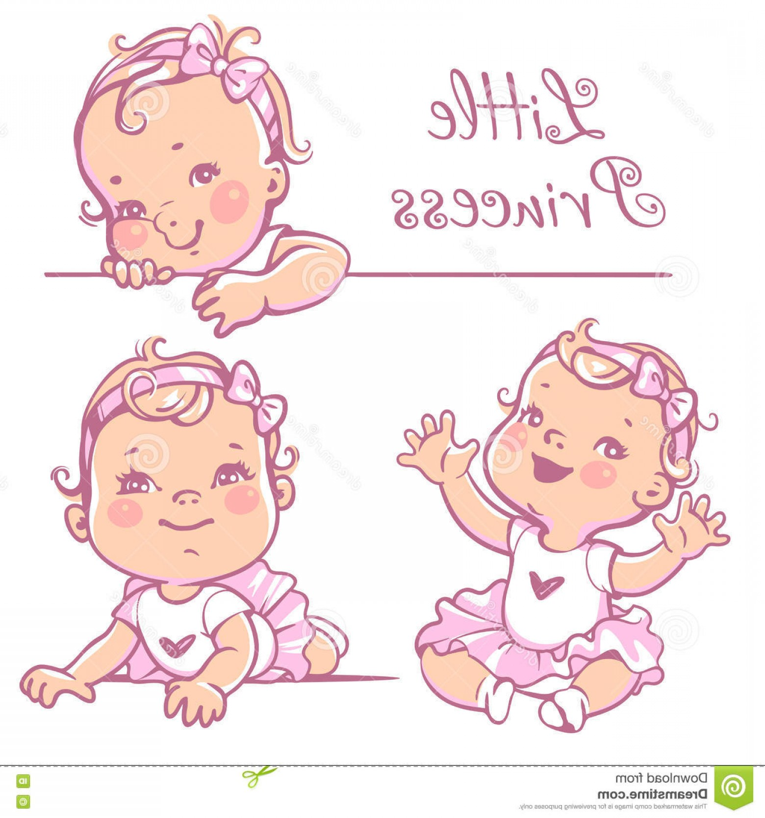 Princess Baby Girl Vector: Stock Illustration Little Baby Girl Set Cute Curly Hair Wearing Bow Pink Tutu Portrait Happy Smiling Child One Year Old Princess Image