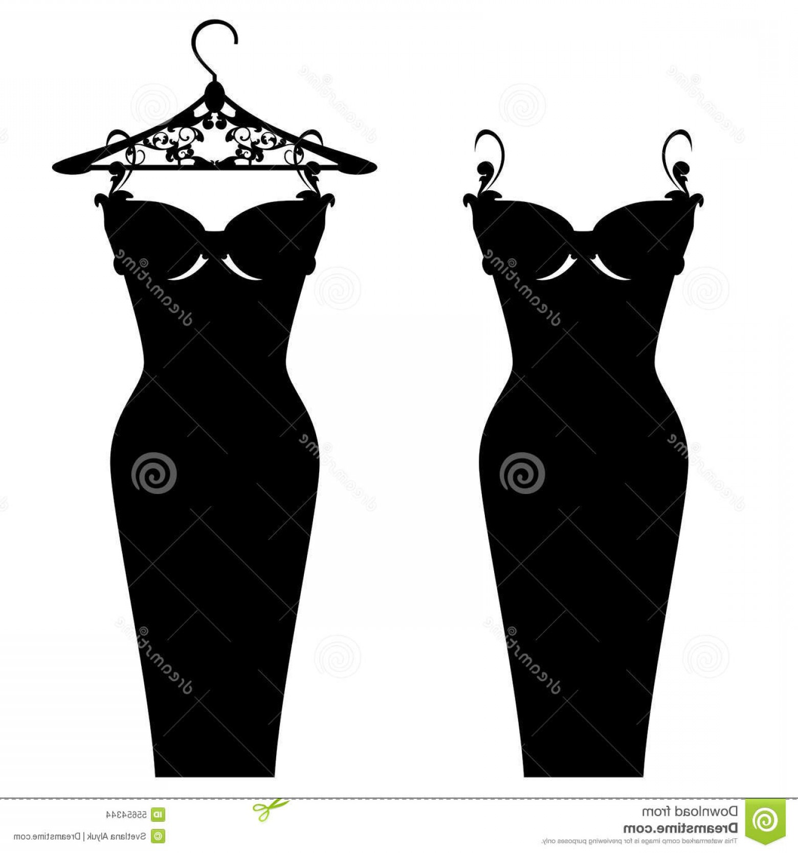 Vector Images Of Black And White Dresses: Stock Illustration Little Black Dress Elegant Design Beautiful Gown Hanger White Vector Silhouette Image
