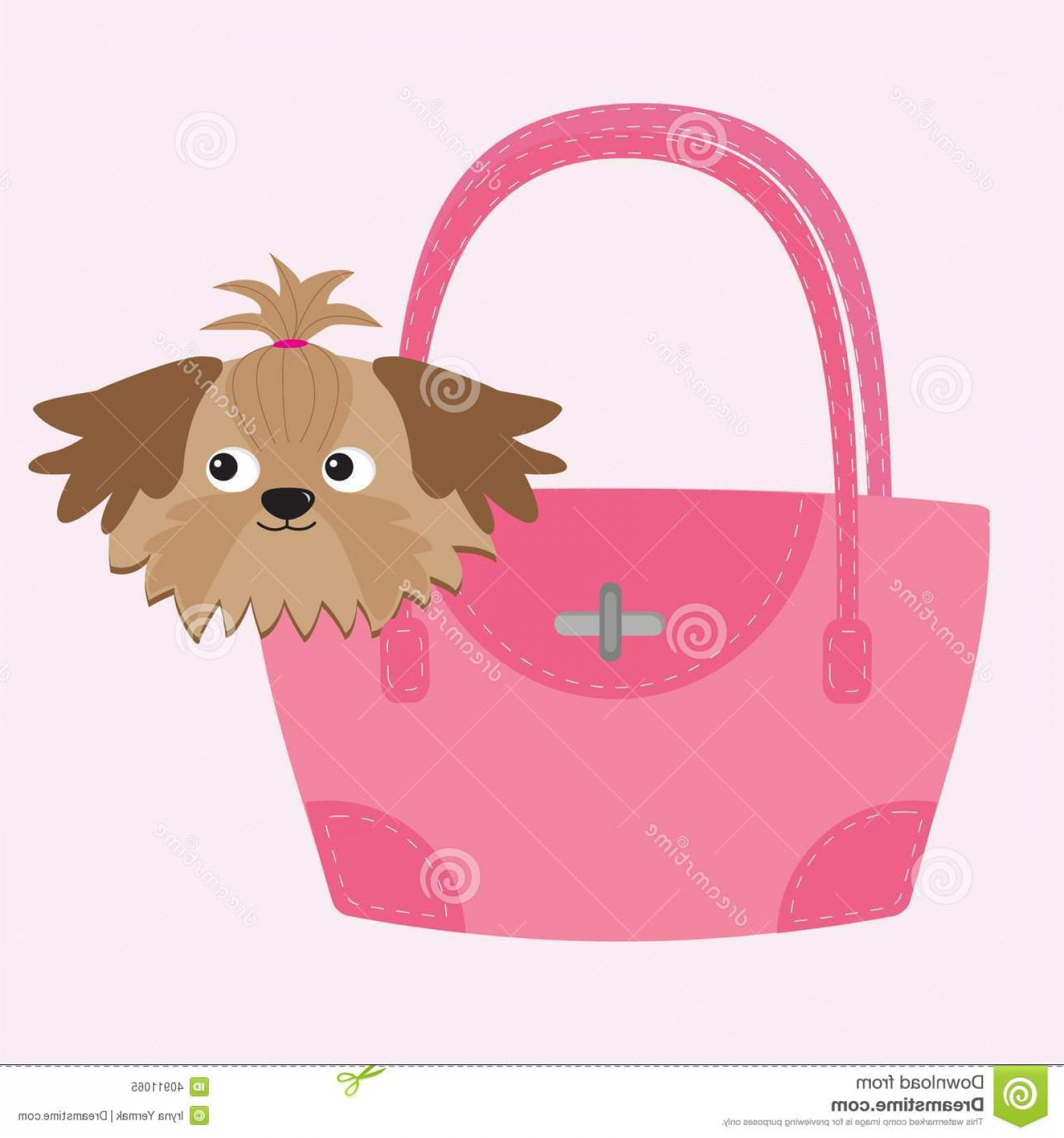 Shih Tzu Vector Siluete: Stock Illustration Little Glamour Tan Shih Tzu Dog Pink Bag Vector Illustration Image