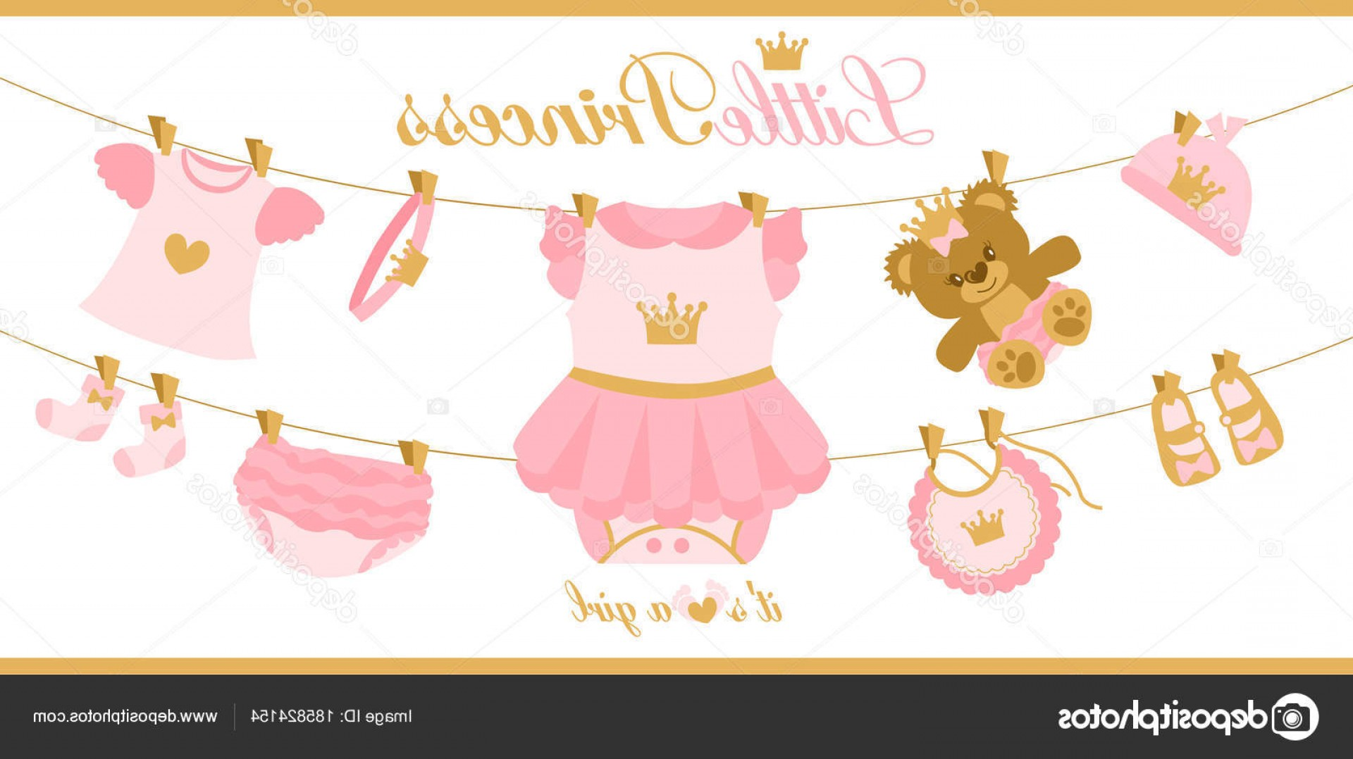 Princess Baby Girl Vector: Stock Illustration Little Princess Clothes Hanging Line