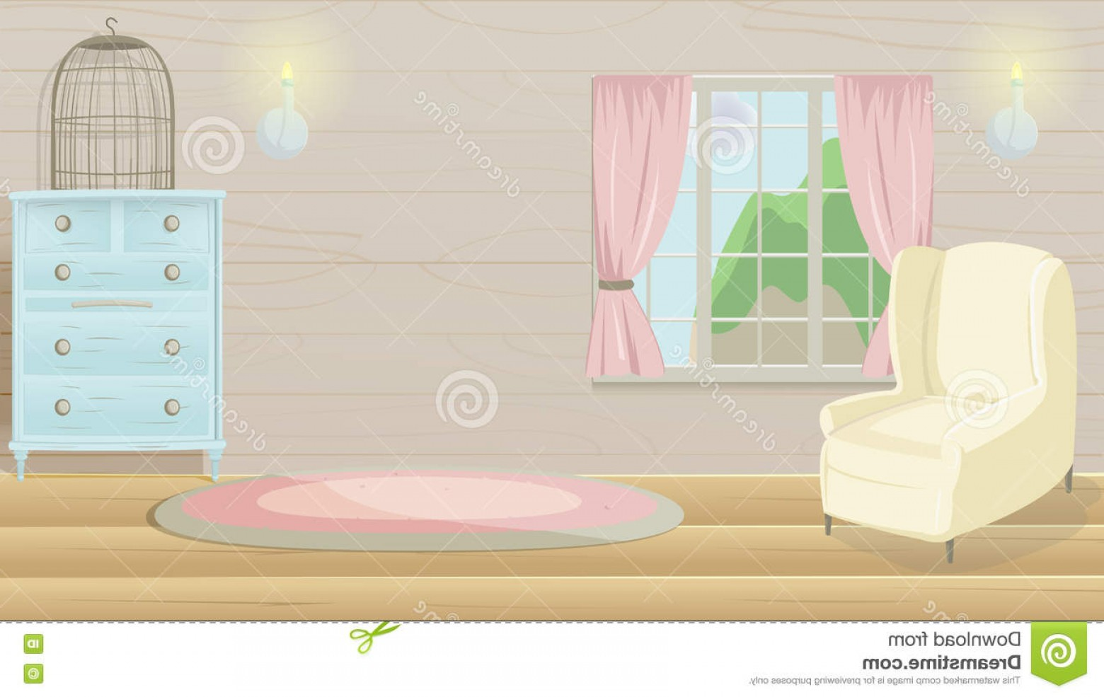 Vector Background For Living Room: Stock Illustration Living Room Vintage Cartoon Background Vector Image