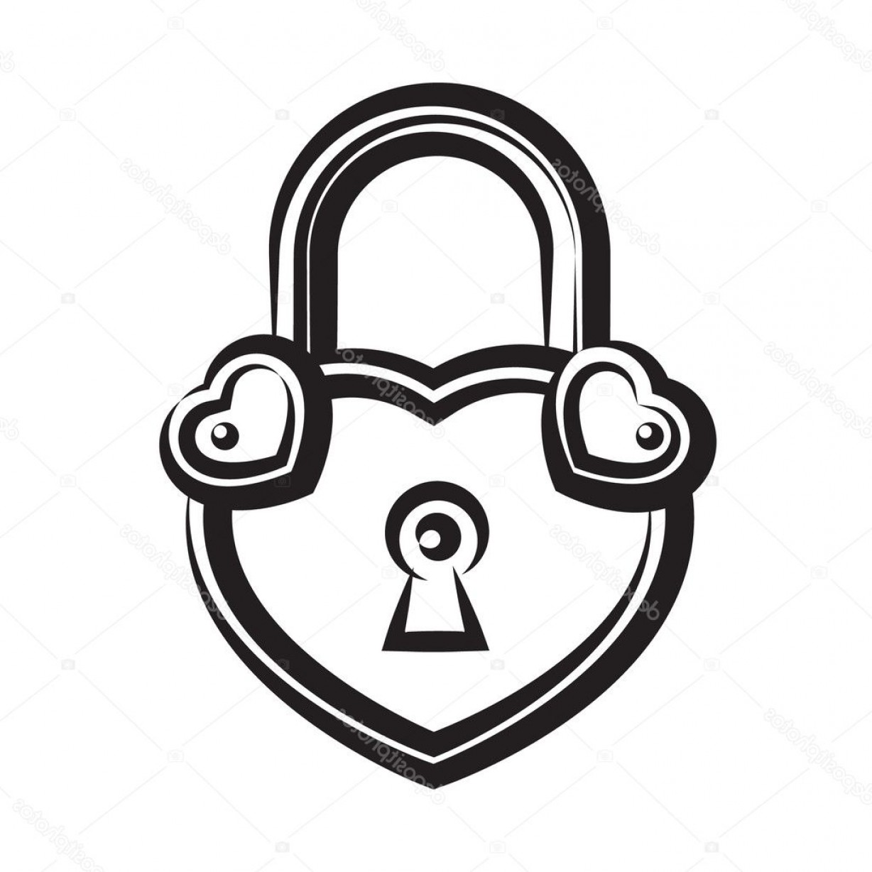 Heart Lock Vector: Stock Illustration Lock Icon In Heart Shaped
