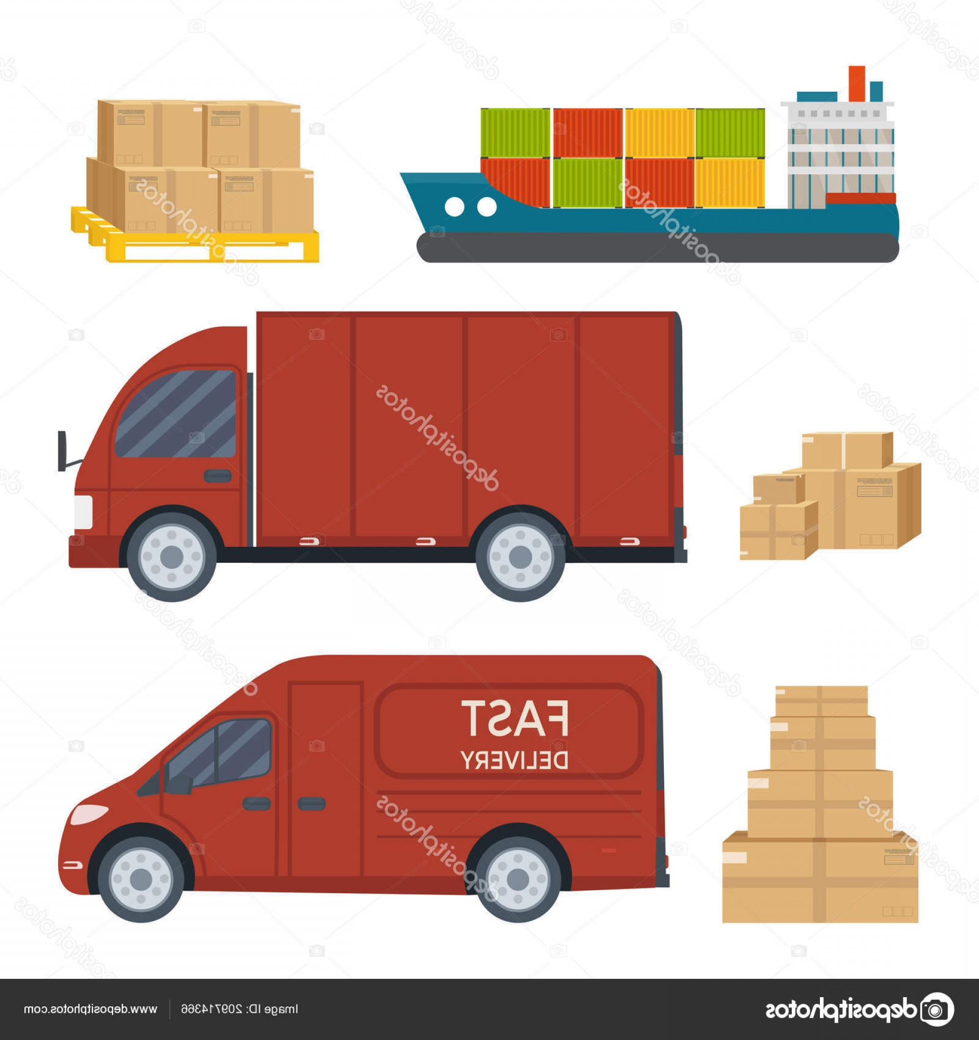 Packages On A Truck Vector: Stock Illustration Logistics Delivery Service Set Truck