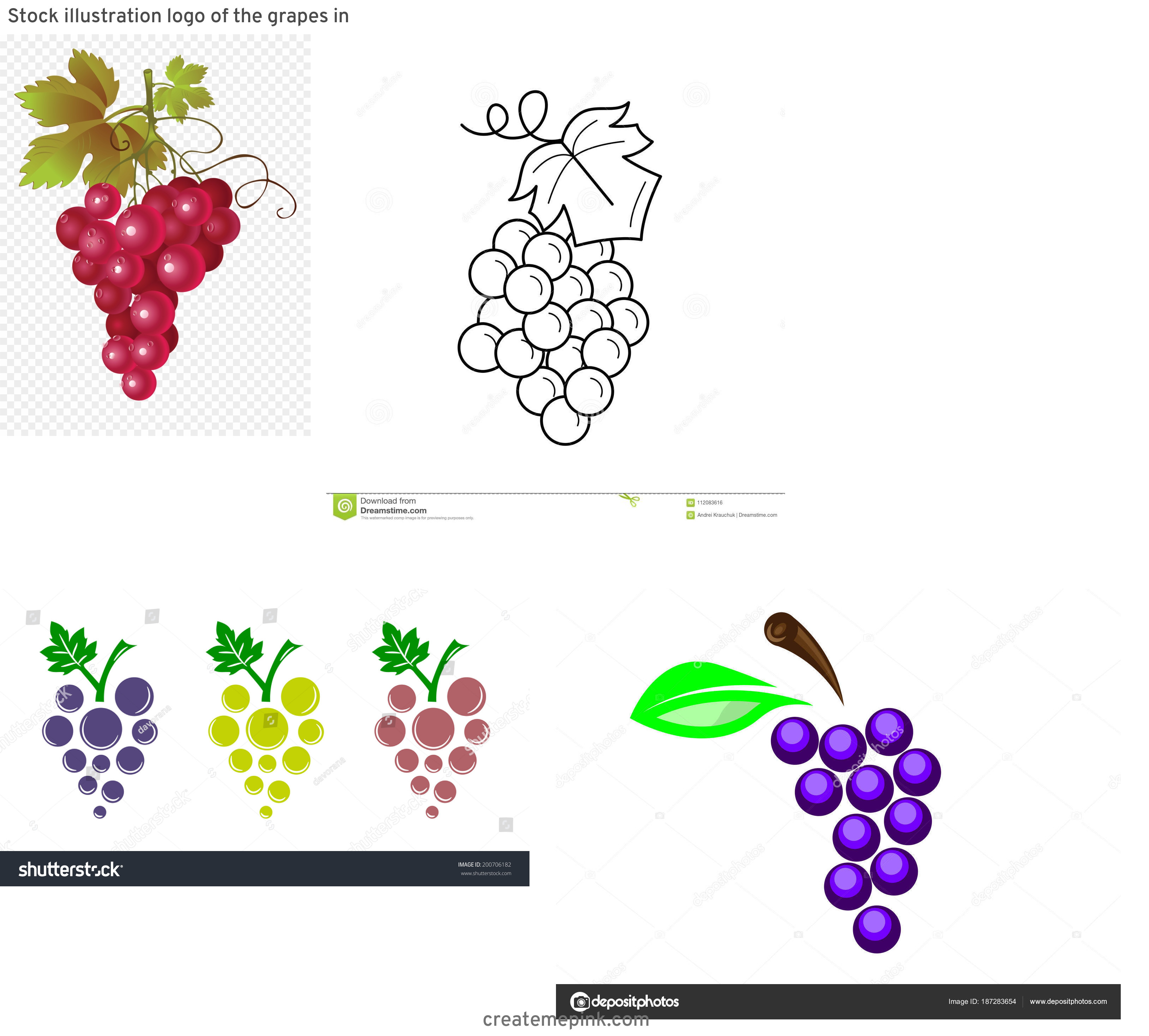 Grapes Vector Art: Stock Illustration Logo Of The Grapes In