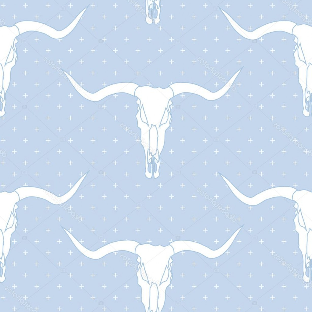 Longhorn Skull Vector: Stock Illustration Longhorn Skull Vector Seamless Pattern