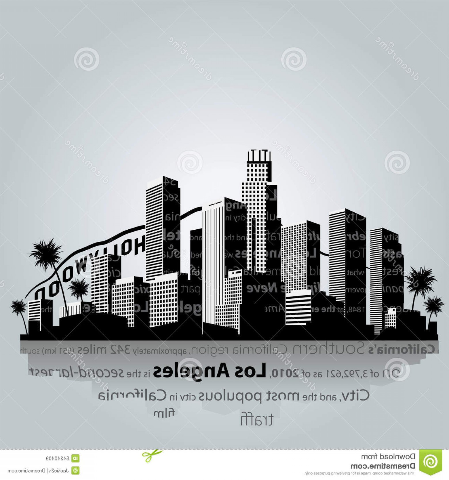 Hollywood Skyline Silhouette Vector: Stock Illustration Los Angeles City Silhouette Vector Illustration Image