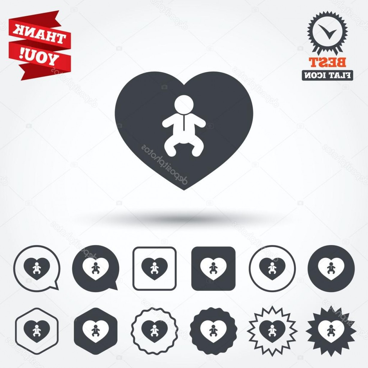 I Love You Mark Vector: Stock Illustration Love Baby Infant Icons