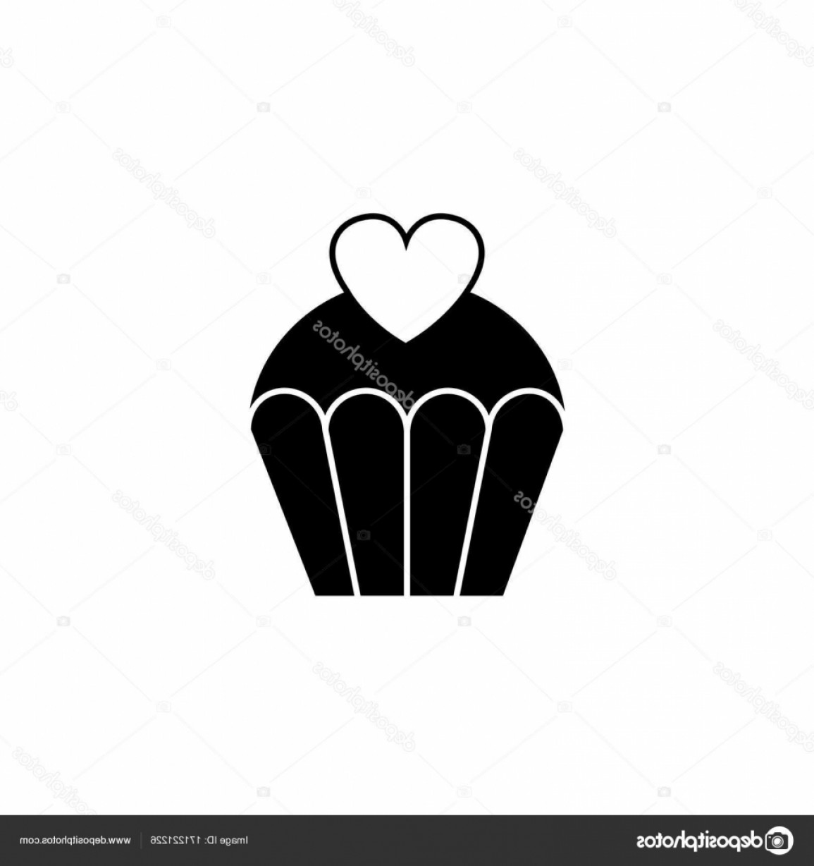 Solid Heart Vector Drawing: Stock Illustration Love Cake With Heart Solid