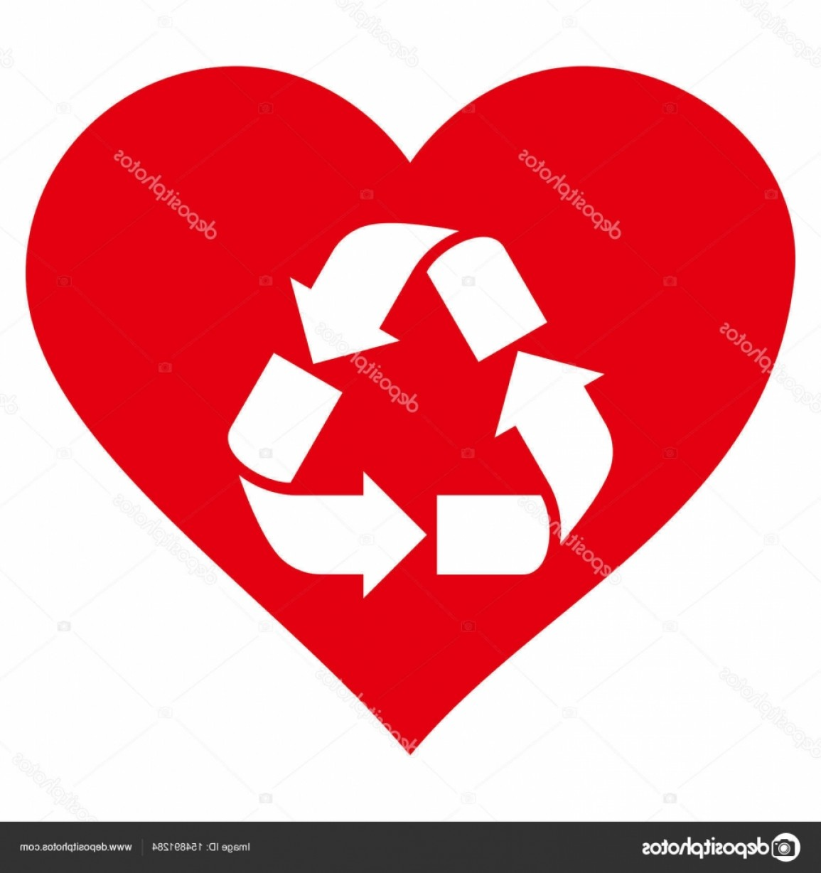Recycle Icon Vector Red: Stock Illustration Love Recycle Vector Icon