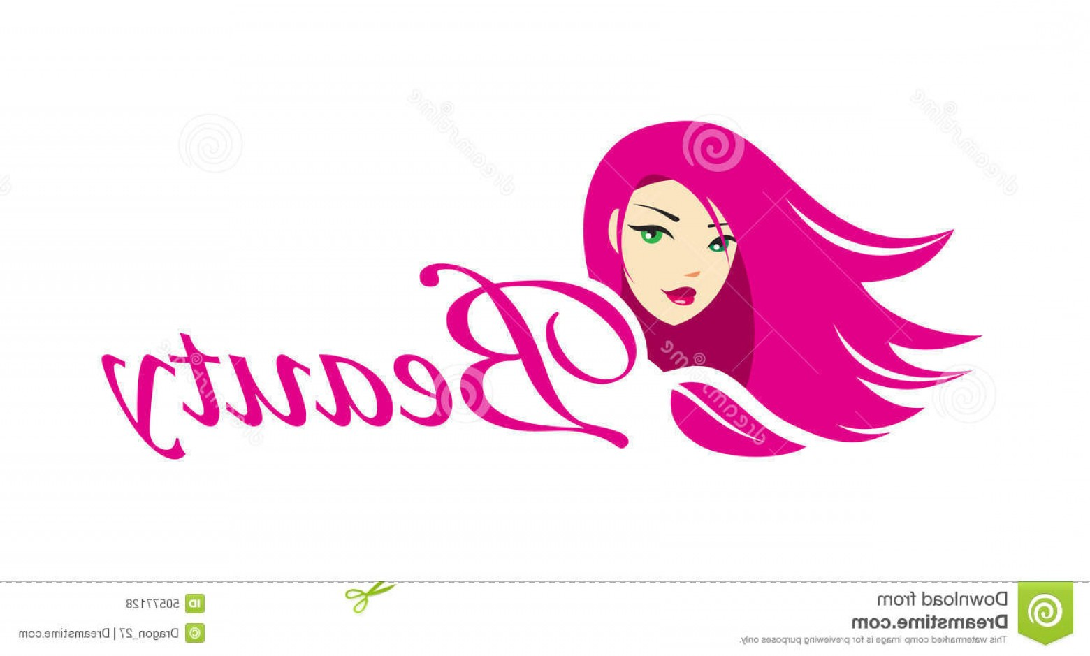 Vector Girl Logo: Stock Illustration Lovely Girl Logo Template Beautiful Young Long Hair High Quality Makeup Business Image