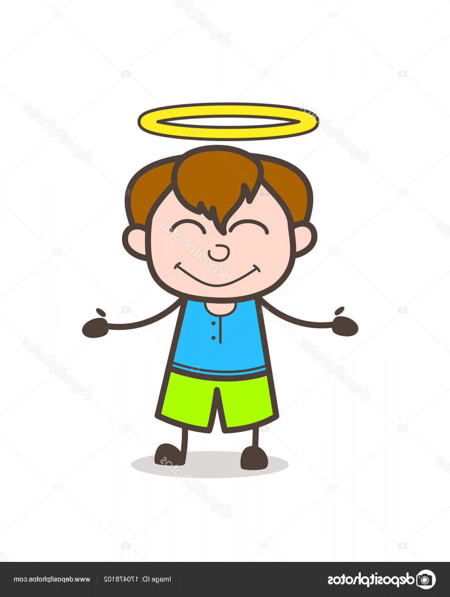 Little Angel Vector: Stock Illustration Lovely Little Angel Kid With