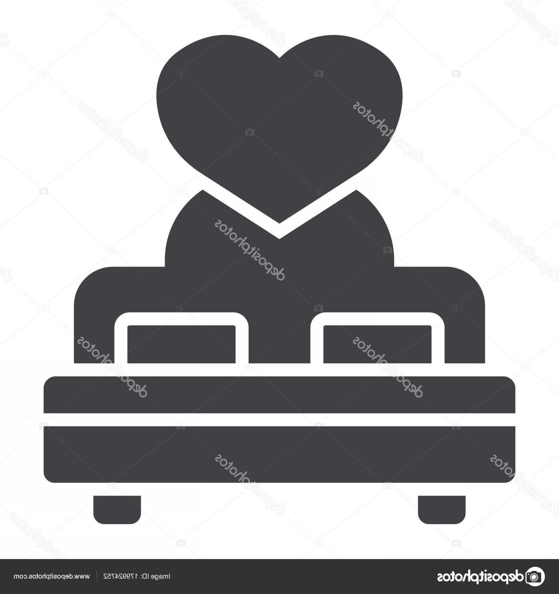 Solid Heart Vector Drawing: Stock Illustration Lovers Bed With Heart Glyph