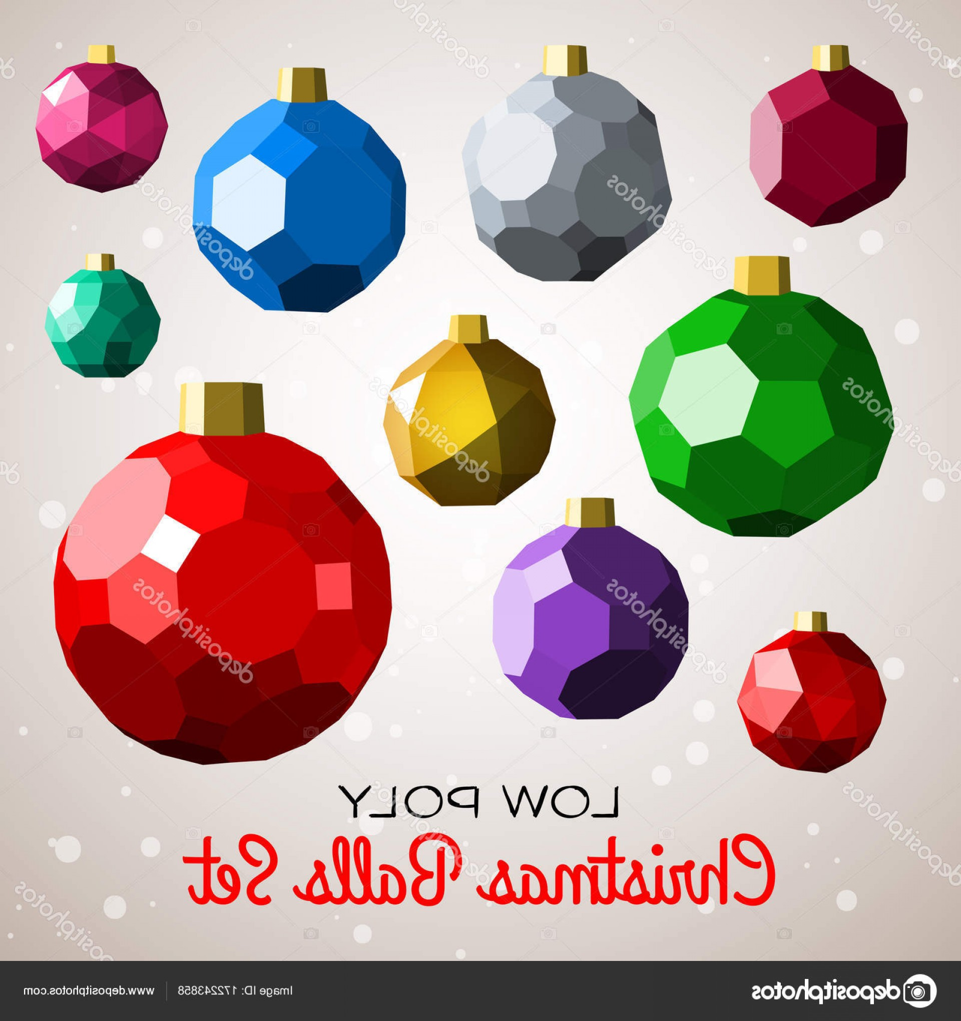 Vector-Based Christmas: Stock Illustration Low Poly Marry Christmas Balls