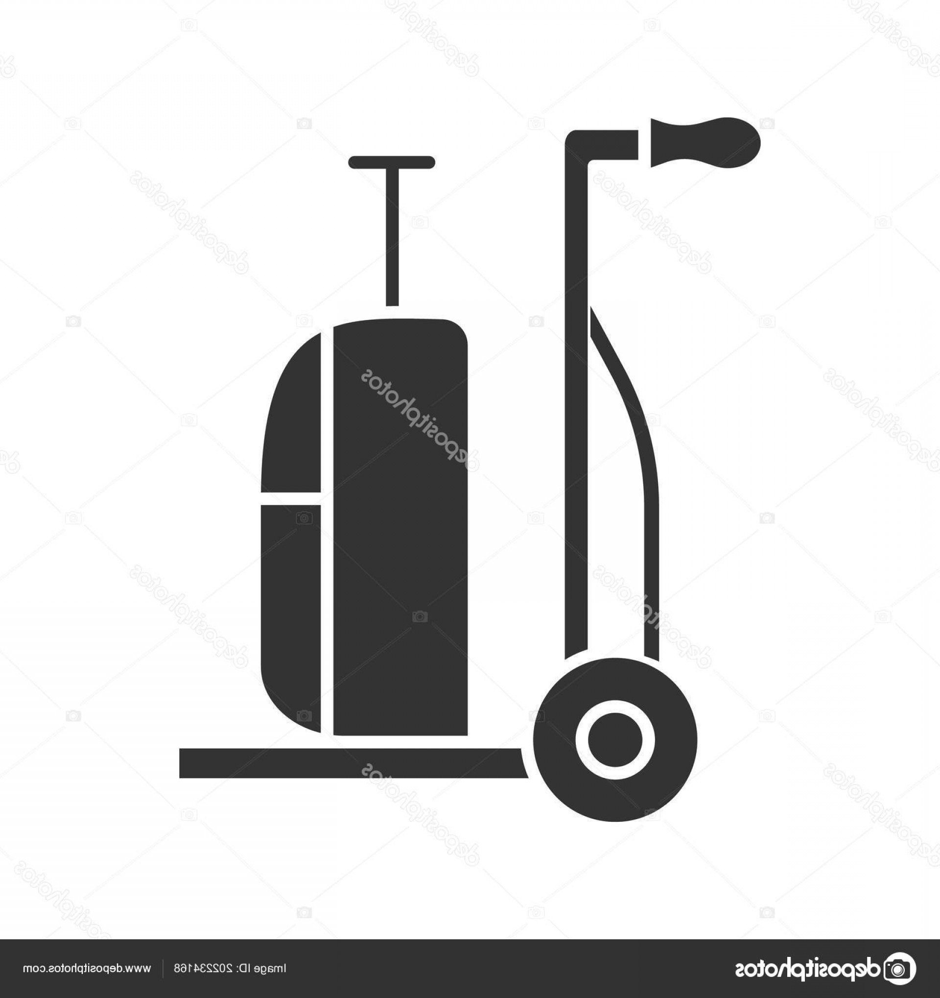 Hand Cart Silhouette Vectors: Stock Illustration Luggage Cart Glyph Icon Hand