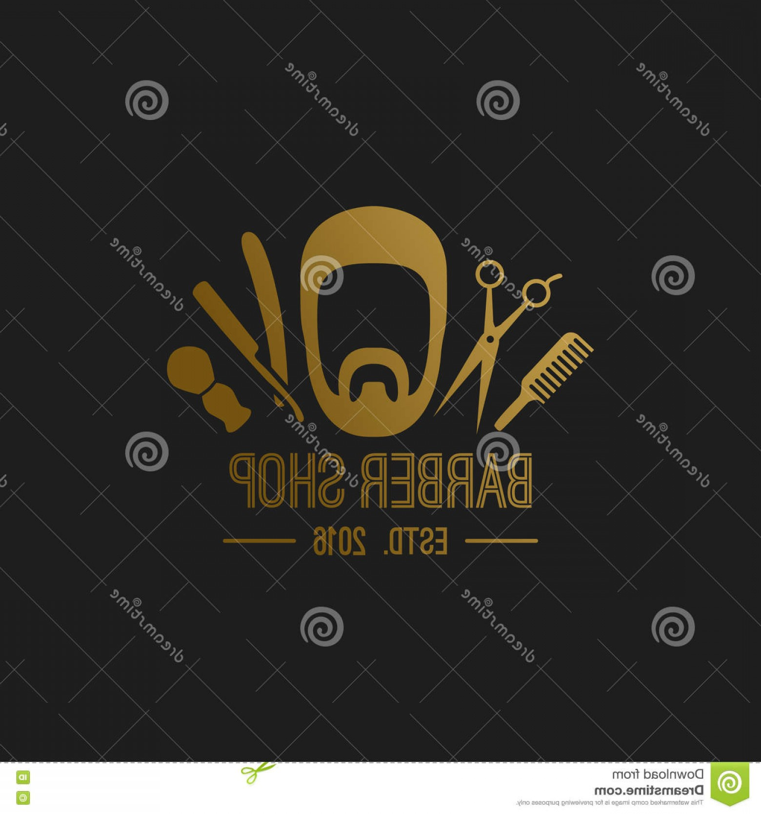 Golden Barber Vector: Stock Illustration Luxury Barber Shop Logo Golden Hair Label Image