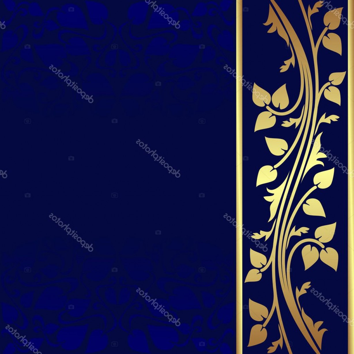 Blue And Gold Border Vector: Stock Illustration Luxury Dark Blue Background With