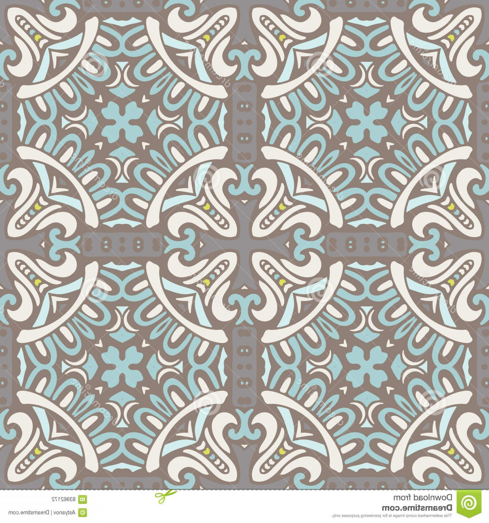 Aqua Victorian Medallions Vectors: Stock Illustration Luxury Ornamental Classical Tile Vector Pattern Abstract Seamless Vintage Fabric Wallpaper Image