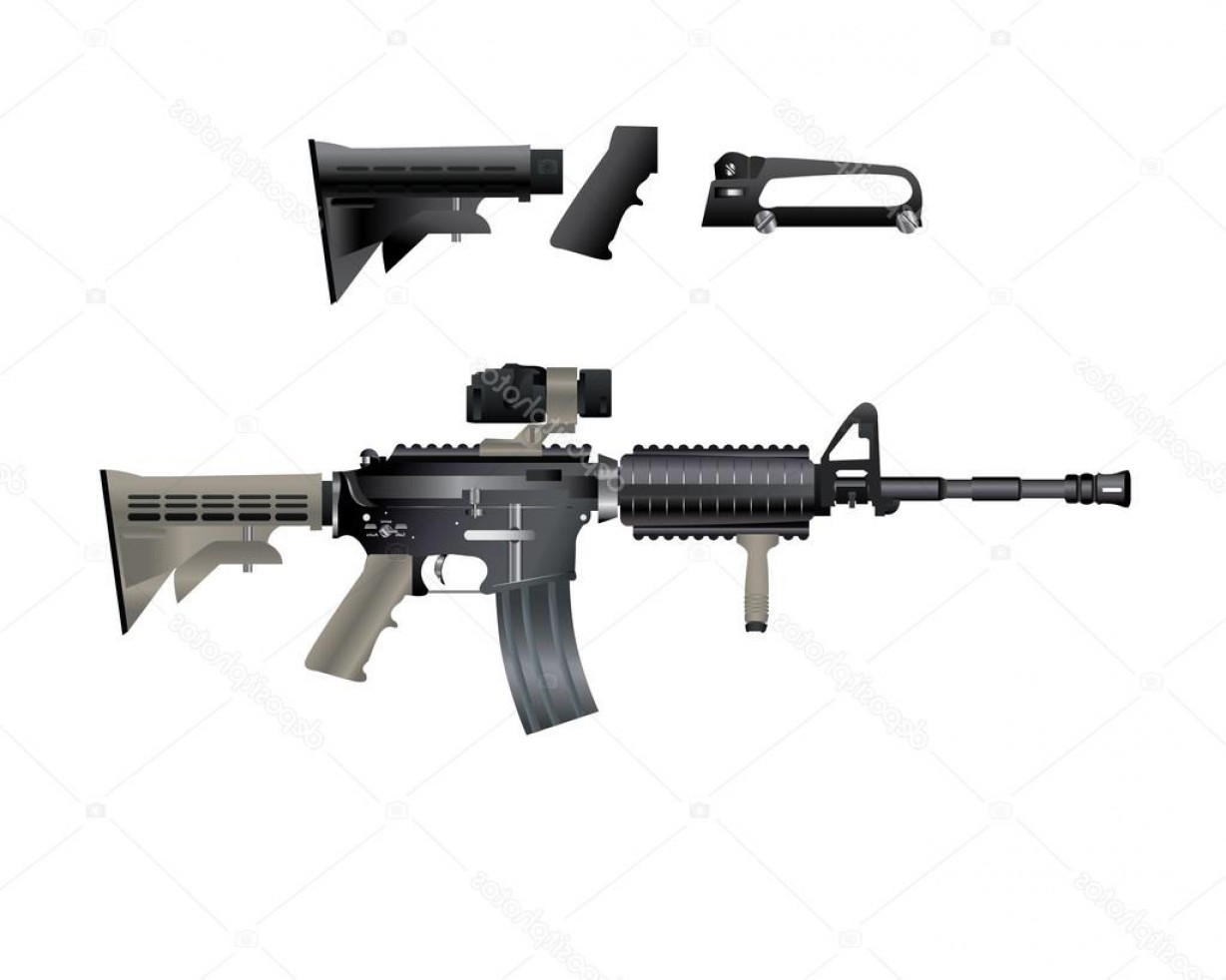 M4 Gun Vector: Stock Illustration M Carbine Is Armed With