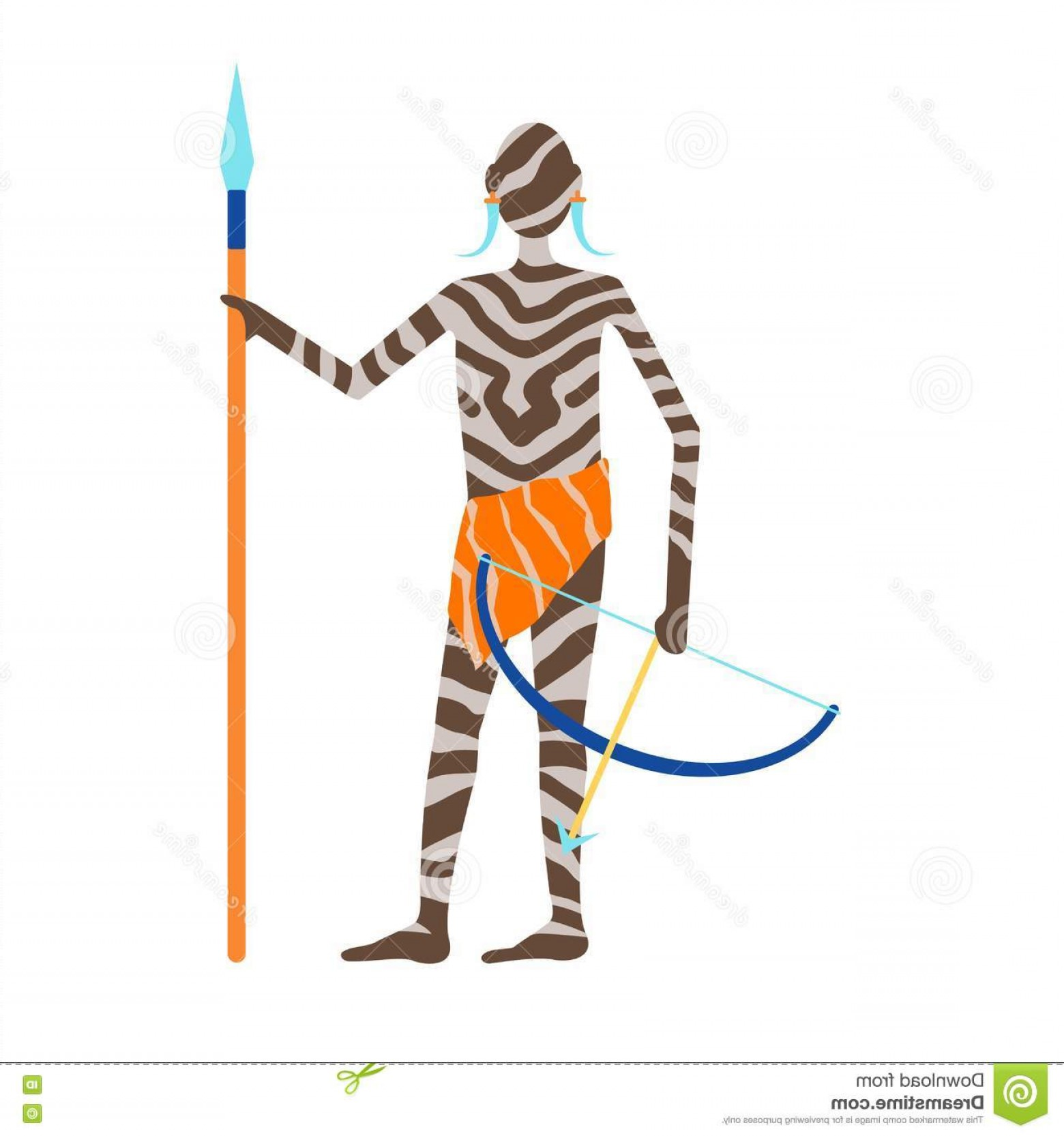 Vector Organisms On A Person: Stock Illustration Maasai African Man Hunter Traditional Clothing Happy Person Vector Illustration People Image Old Art People Image