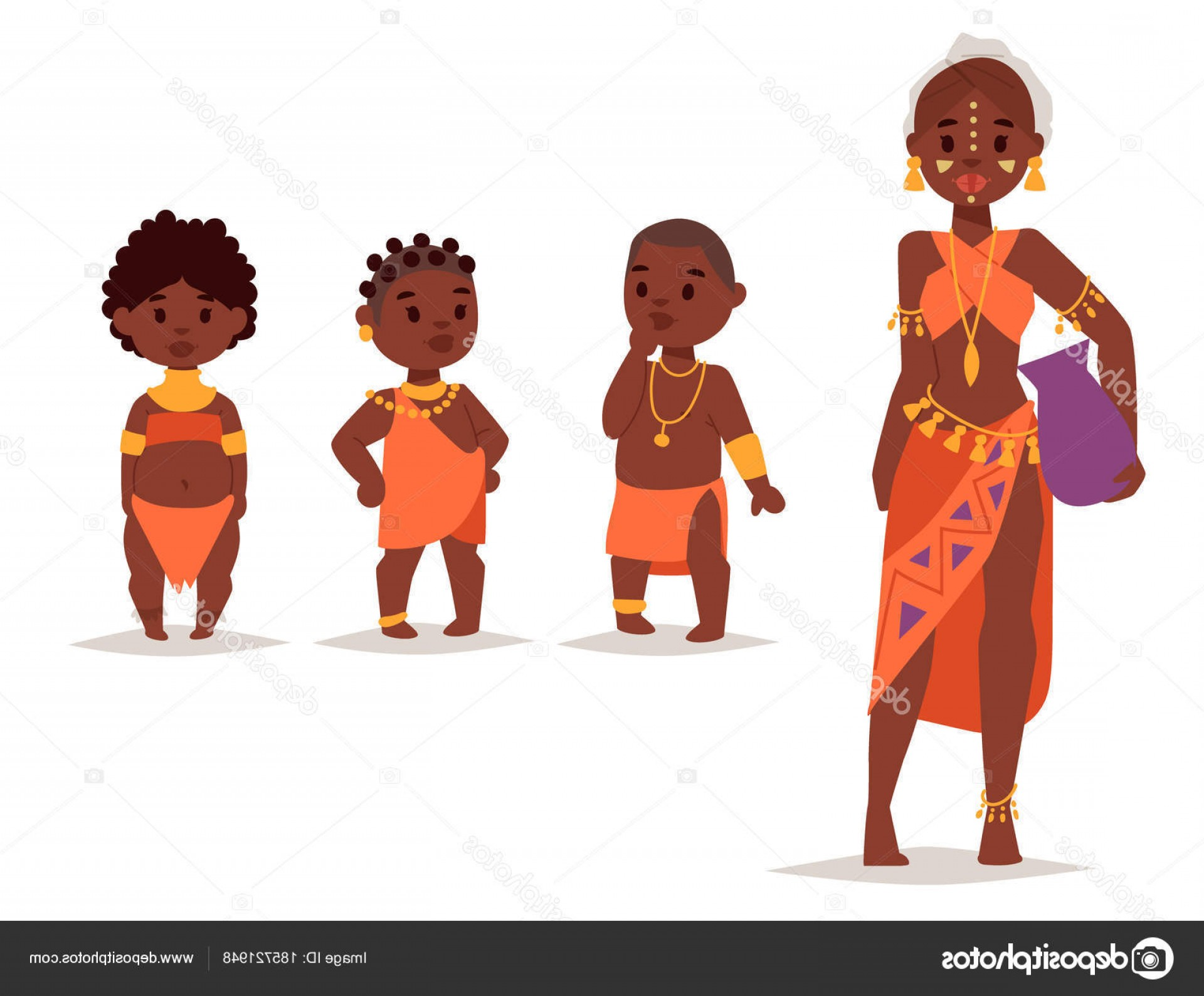 Vector African People: Stock Illustration Maasai African People In Traditional
