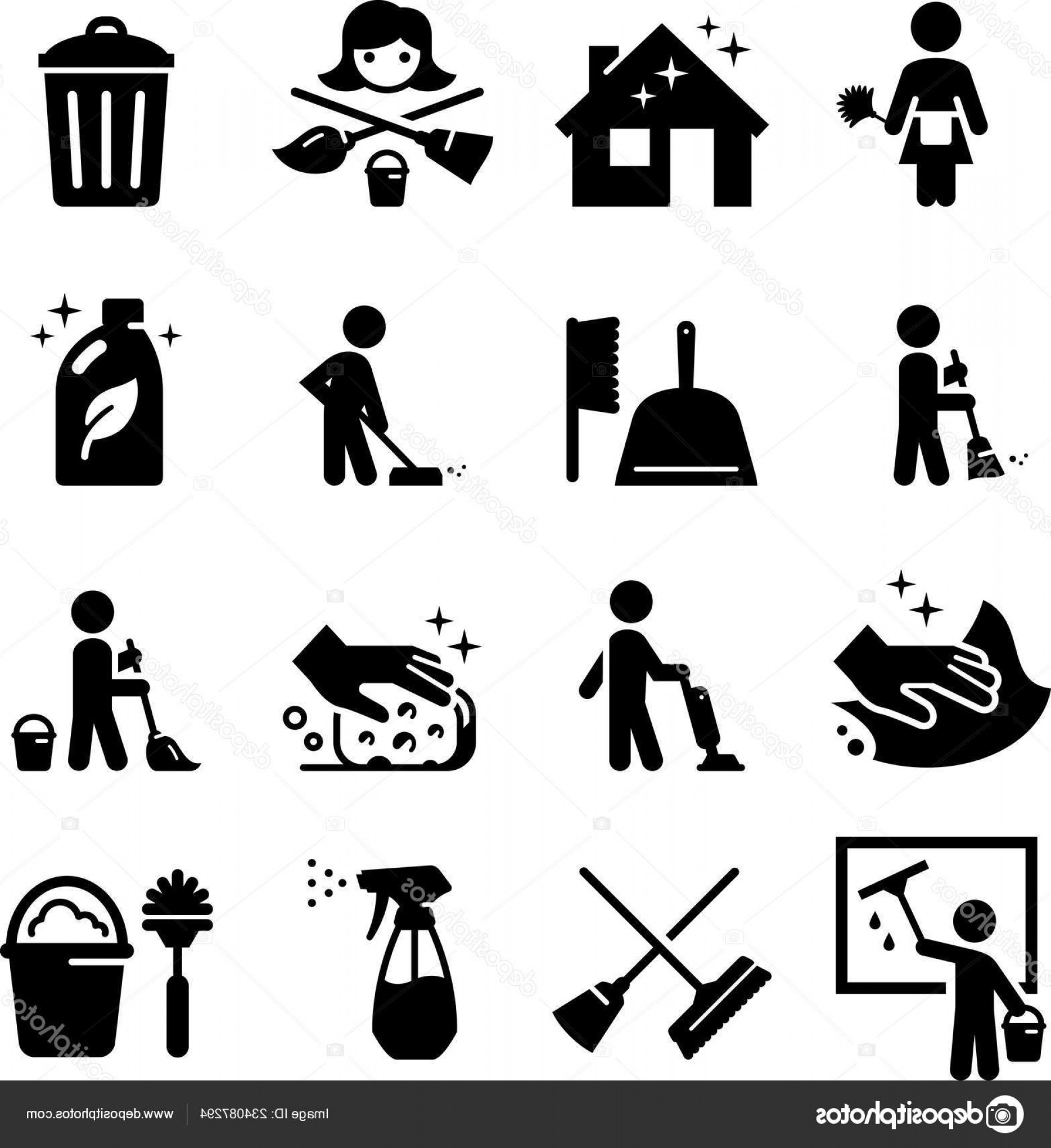 Janitorial Vector: Stock Illustration Maid Services Janitorial Cleaning Icon