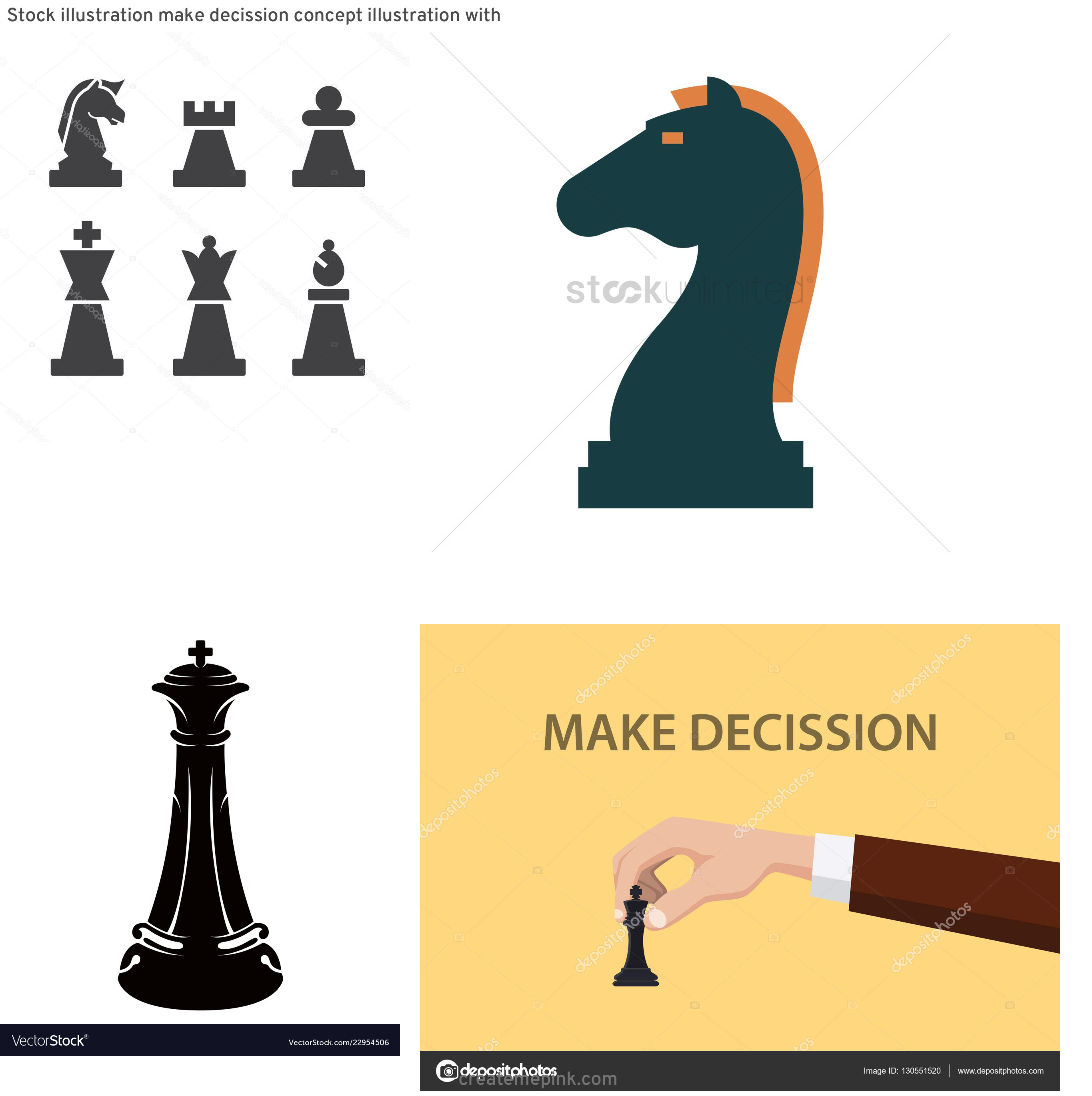 Chess Vector Graphic: Stock Illustration Make Decission Concept Illustration With