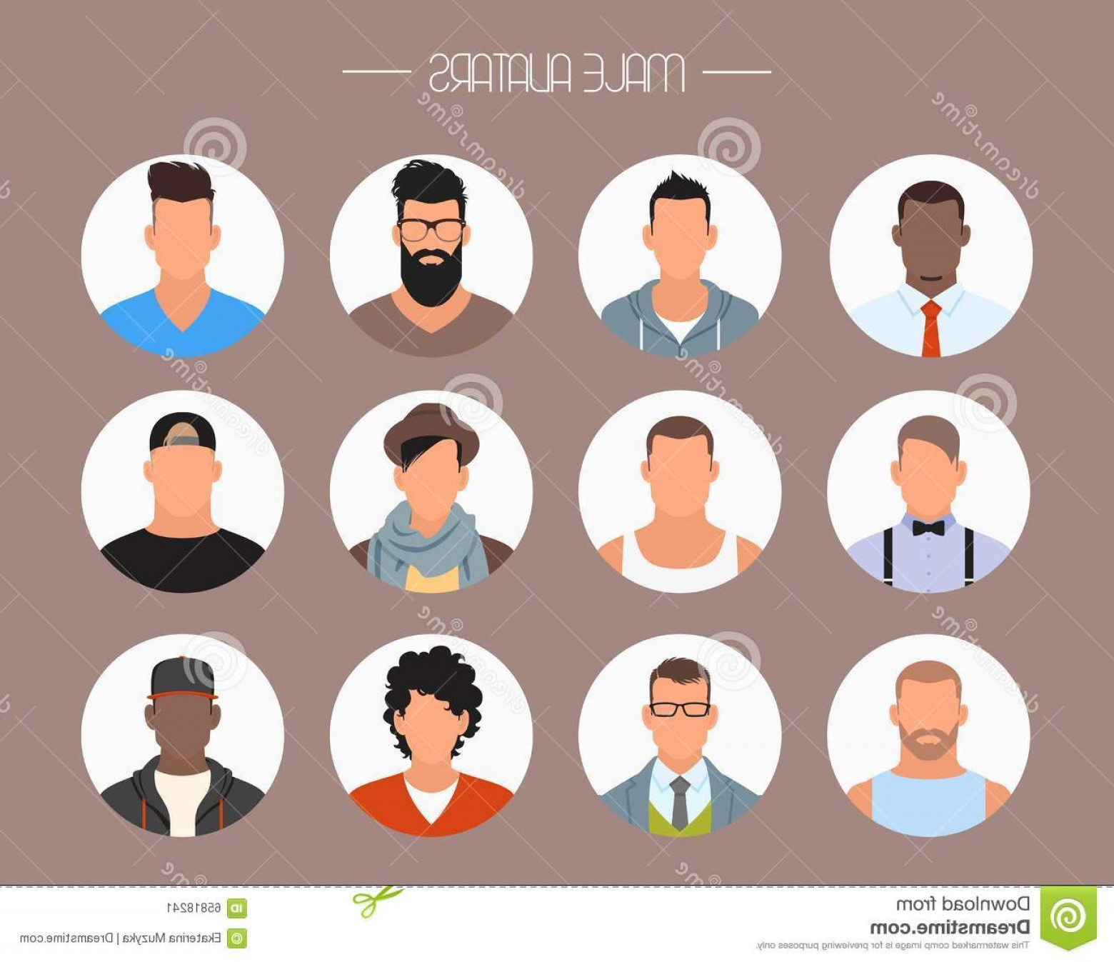 Vector Styles: Stock Illustration Male Avatar Icons Vector Set People Characters Flat Style Faces Different Styles Nationalities Design Elements Image