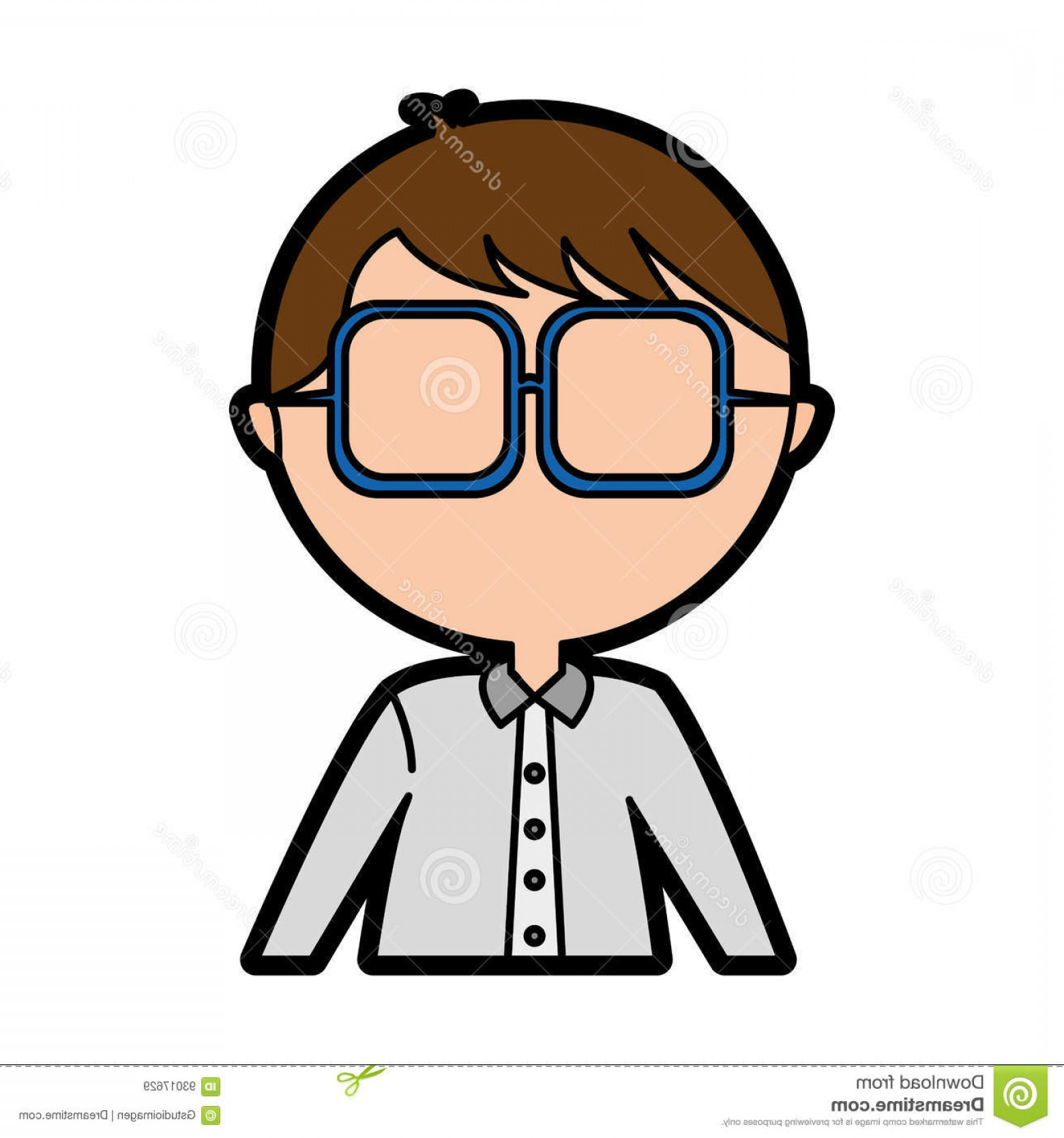 Nerd Vector: Stock Illustration Male Nerd Avatar Character Vector Illustration Design Image