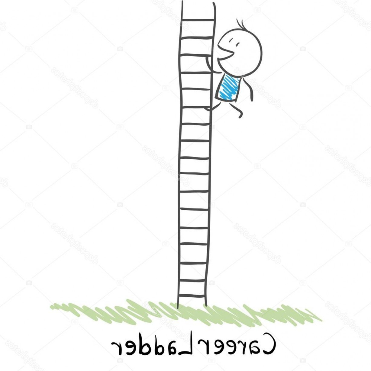 Vector Career Ladder: Stock Illustration Man Climbing The Career Ladder