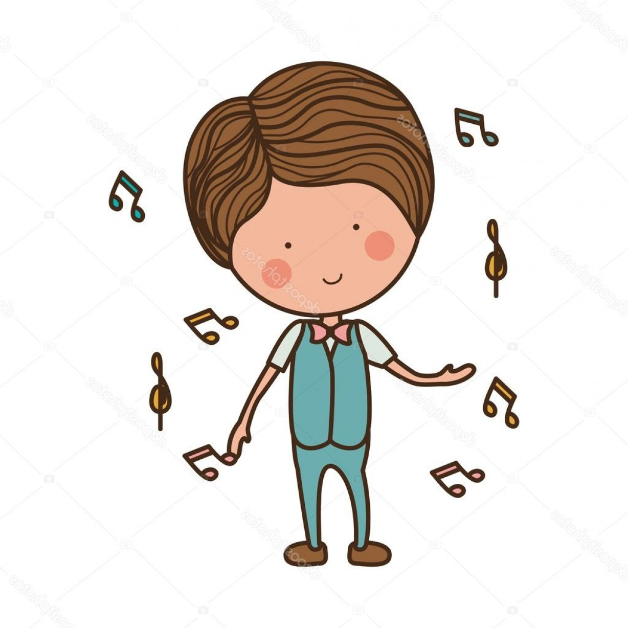 Dancing Musical Notes Vector: Stock Illustration Man Dancing With Musical Notes