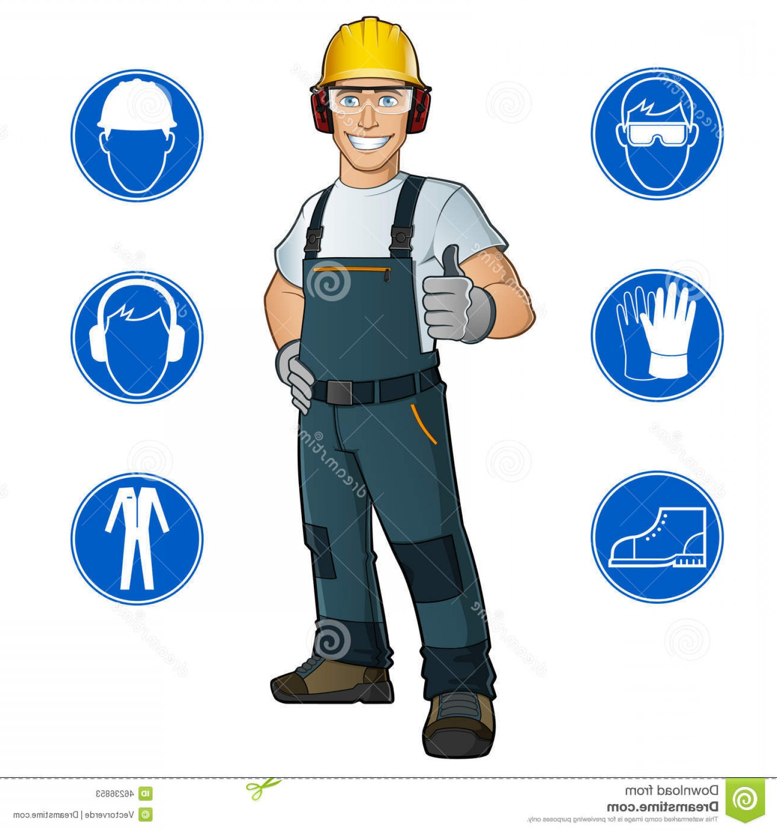 Construction Safety Goggles Vector: Stock Illustration Man Dressed Work Clothes Helmet Goggles Gloves Safety Signs Image