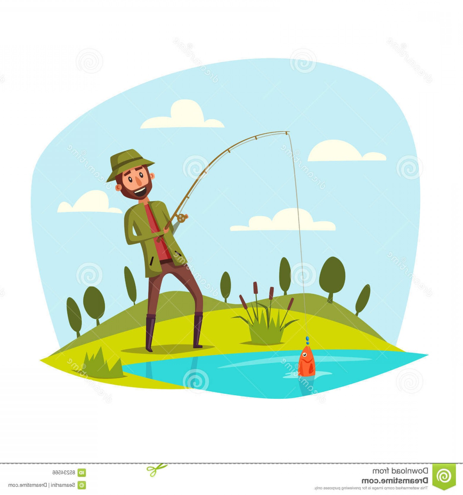 Catching Fish Hook Vector Art: Stock Illustration Man Fishing Rod Catching Vector Fish Hook Pulling Out Lake River Water Fisherman Sport Recreation Leisure Image