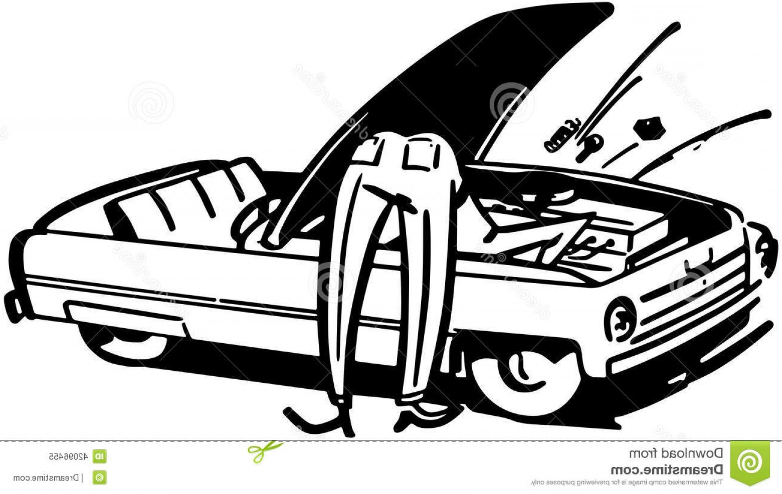 Fixing Car Vector: Stock Illustration Man Fixing Car Image