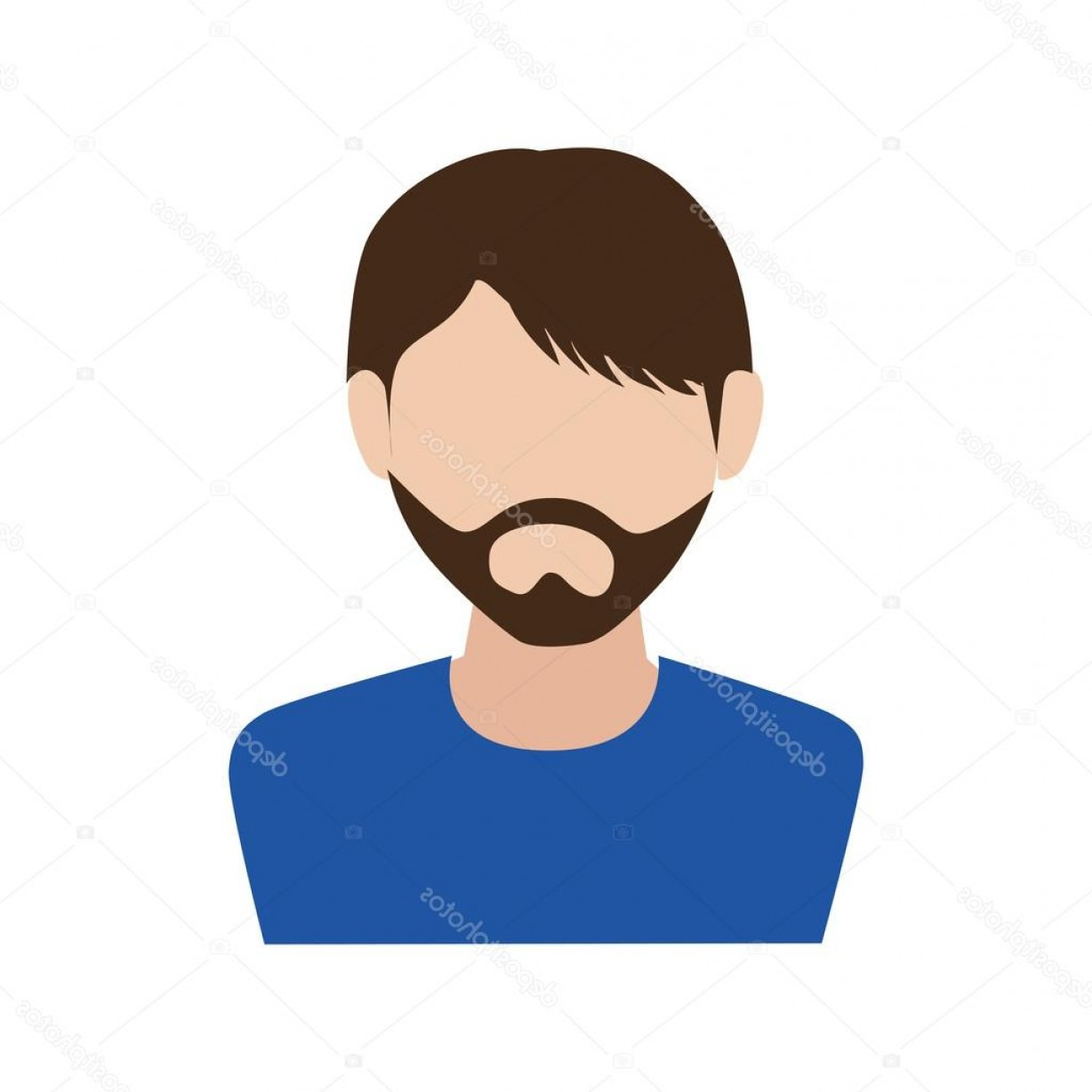 Male Face Icon Vector: Stock Illustration Man Guy Boy Person Beard